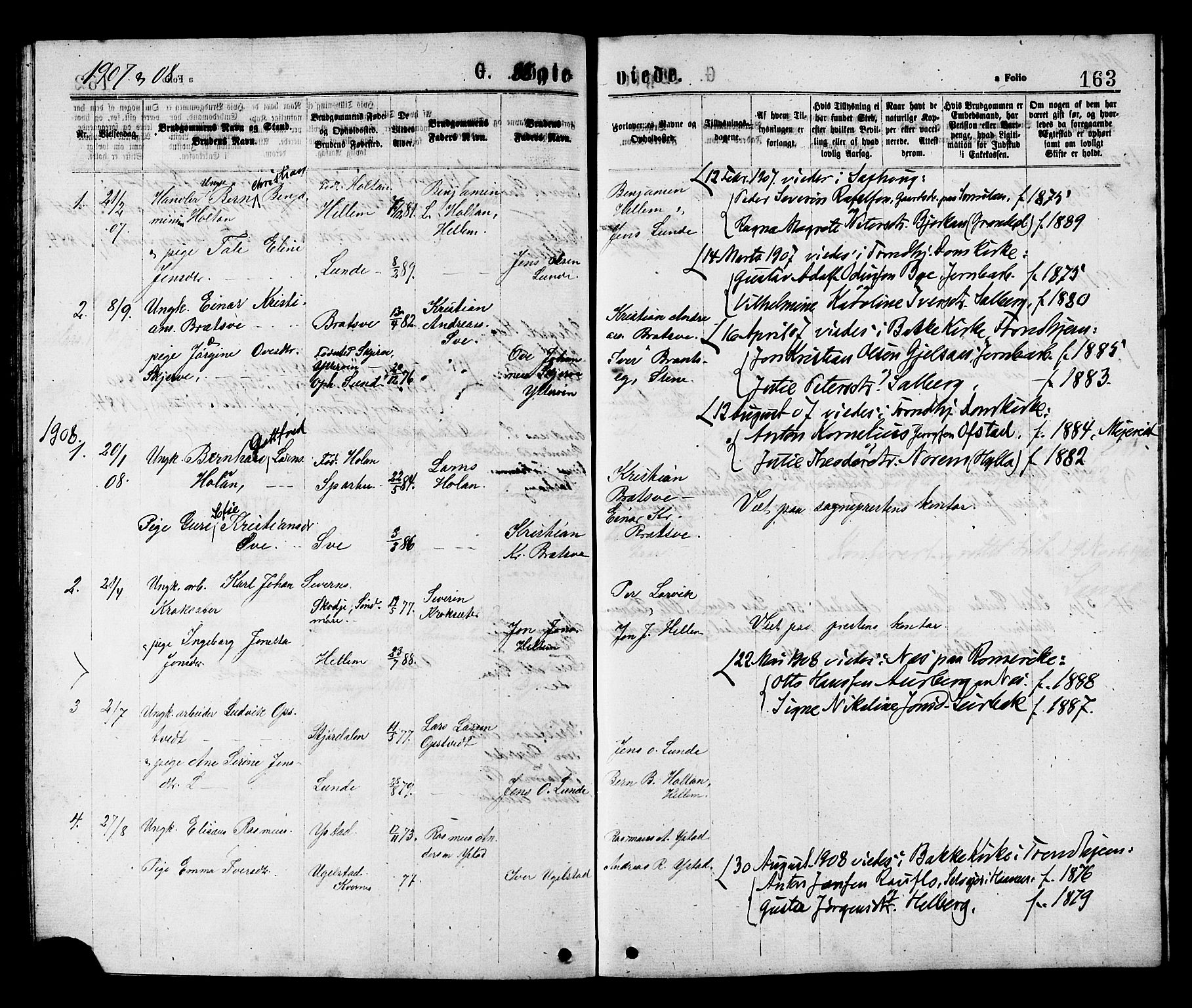 SAT, Ministerialprotokoller, klokkerbøker og fødselsregistre - Nord-Trøndelag, 731/L0311: Klokkerbok nr. 731C02, 1875-1911, s. 163