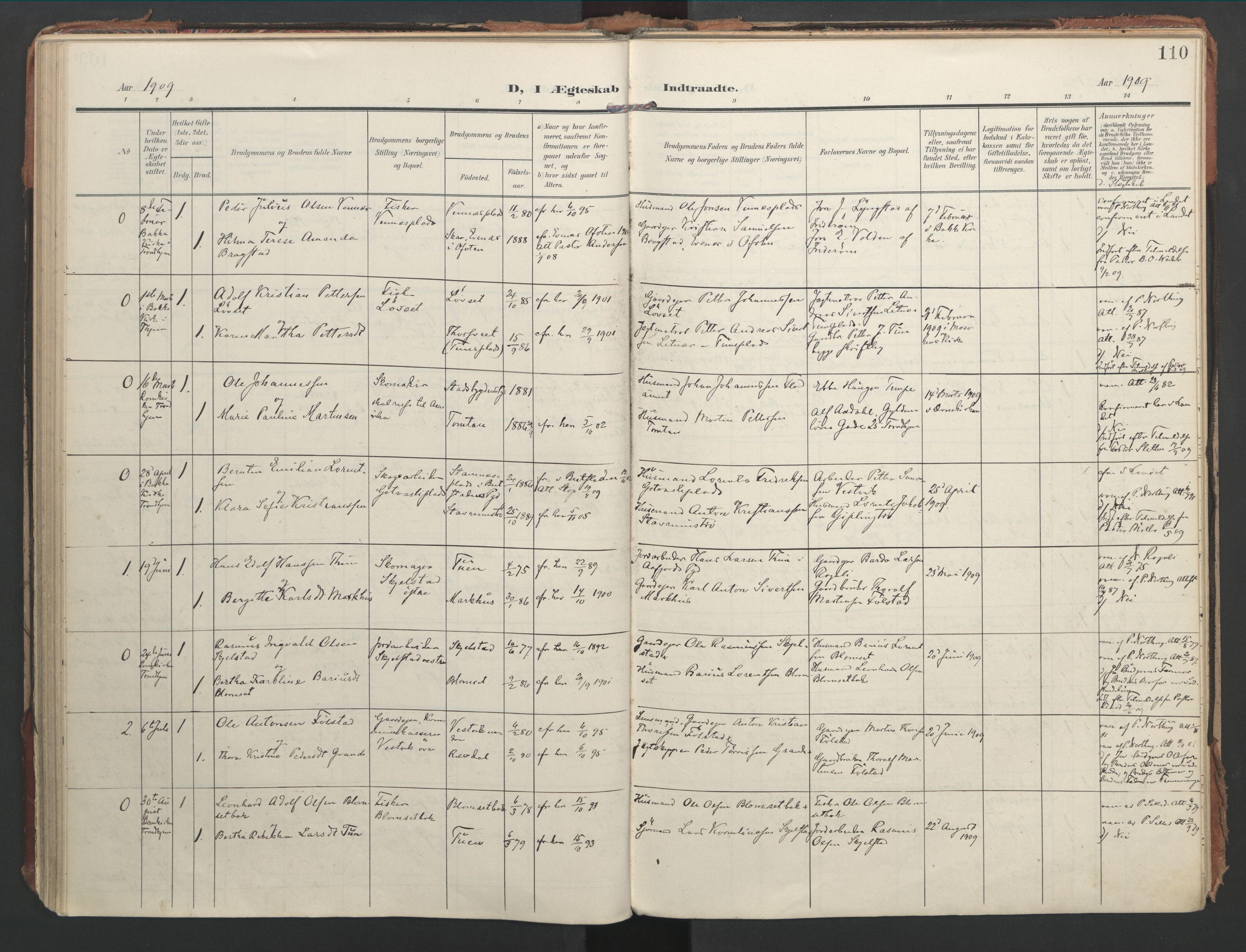 SAT, Ministerialprotokoller, klokkerbøker og fødselsregistre - Nord-Trøndelag, 744/L0421: Ministerialbok nr. 744A05, 1905-1930, s. 110