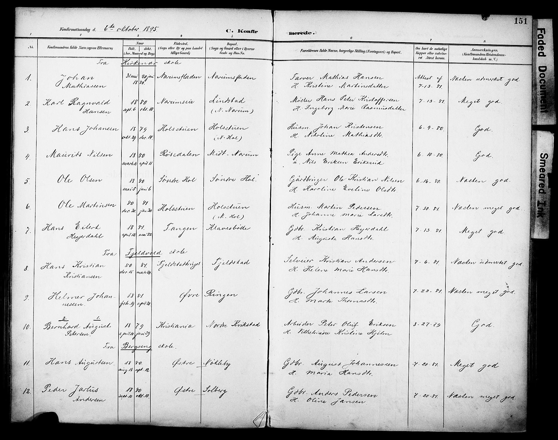 SAH, Vestre Toten prestekontor, H/Ha/Haa/L0013: Ministerialbok nr. 13, 1895-1911, s. 151