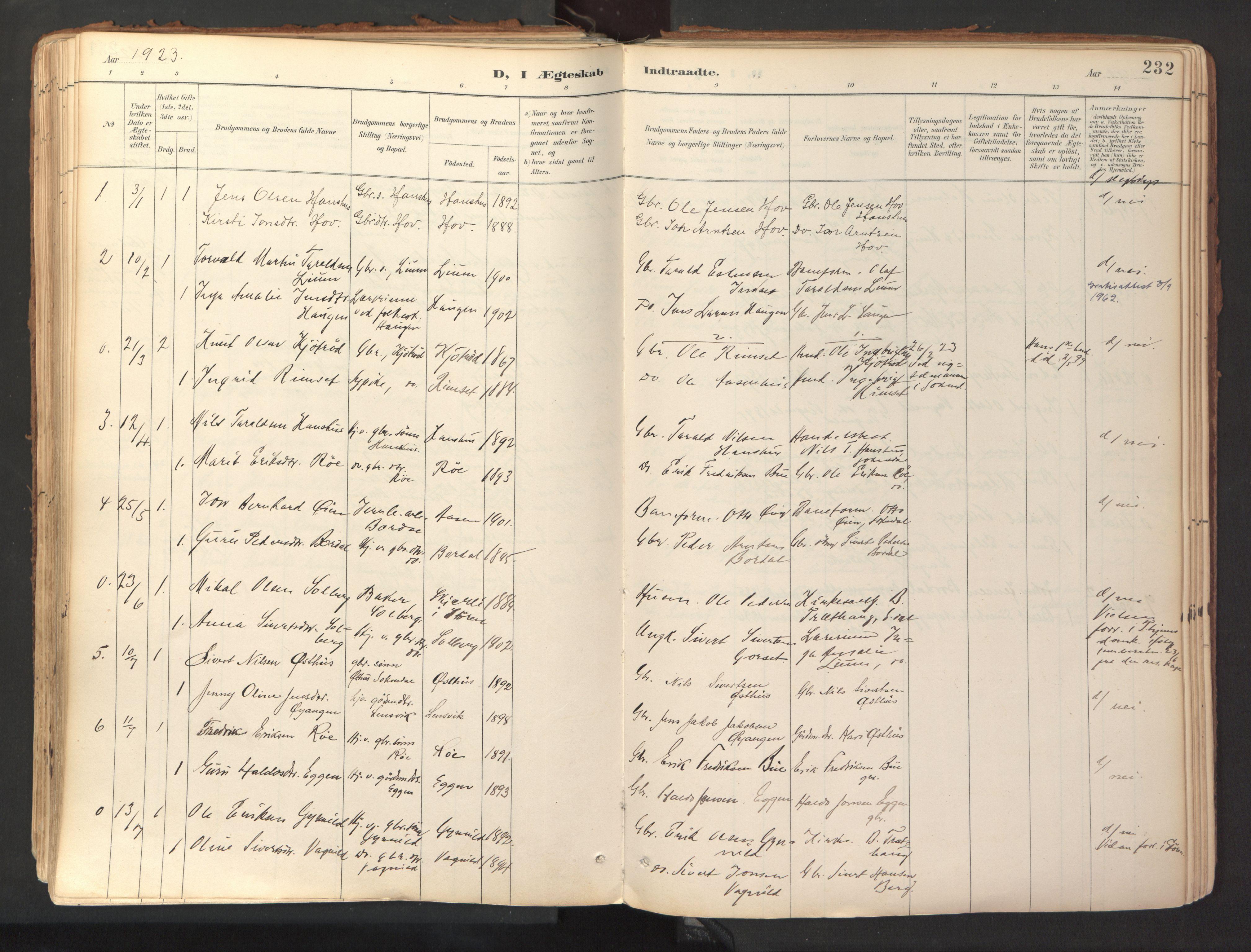 SAT, Ministerialprotokoller, klokkerbøker og fødselsregistre - Sør-Trøndelag, 689/L1041: Ministerialbok nr. 689A06, 1891-1923, s. 232