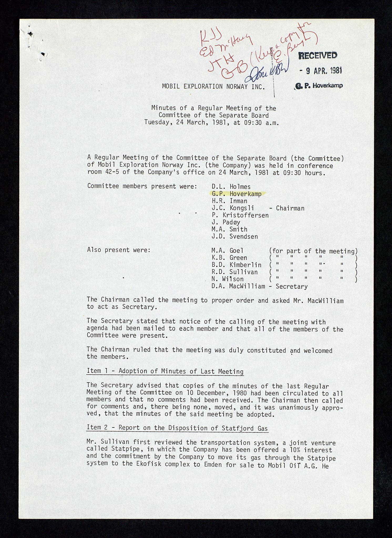 SAST, Pa 1578 - Mobil Exploration Norway Incorporated, D/Da/L0168: Sak og korrespondanse og styremøter, 1973-1986, s. 69