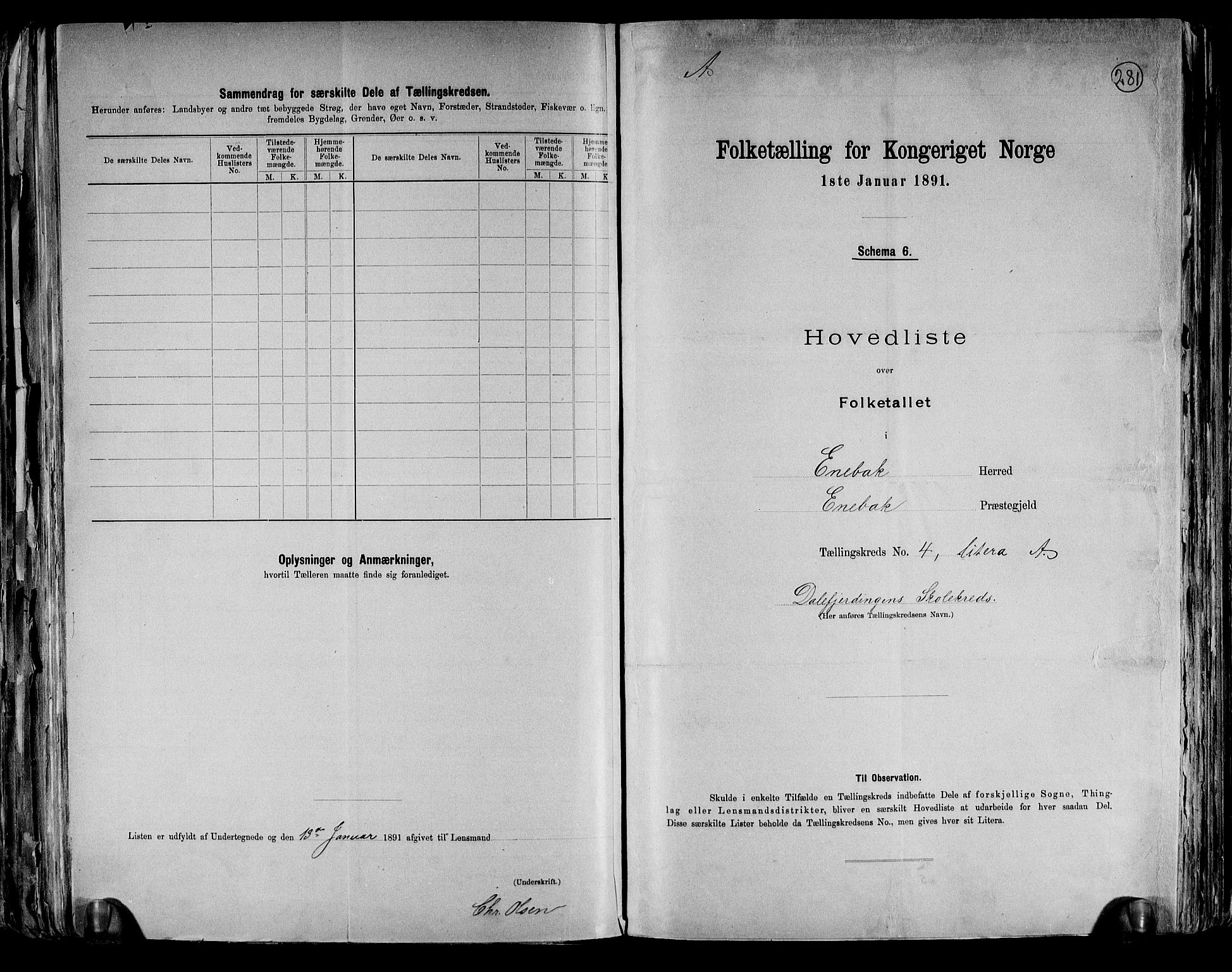 RA, Folketelling 1891 for 0229 Enebakk herred, 1891, s. 14