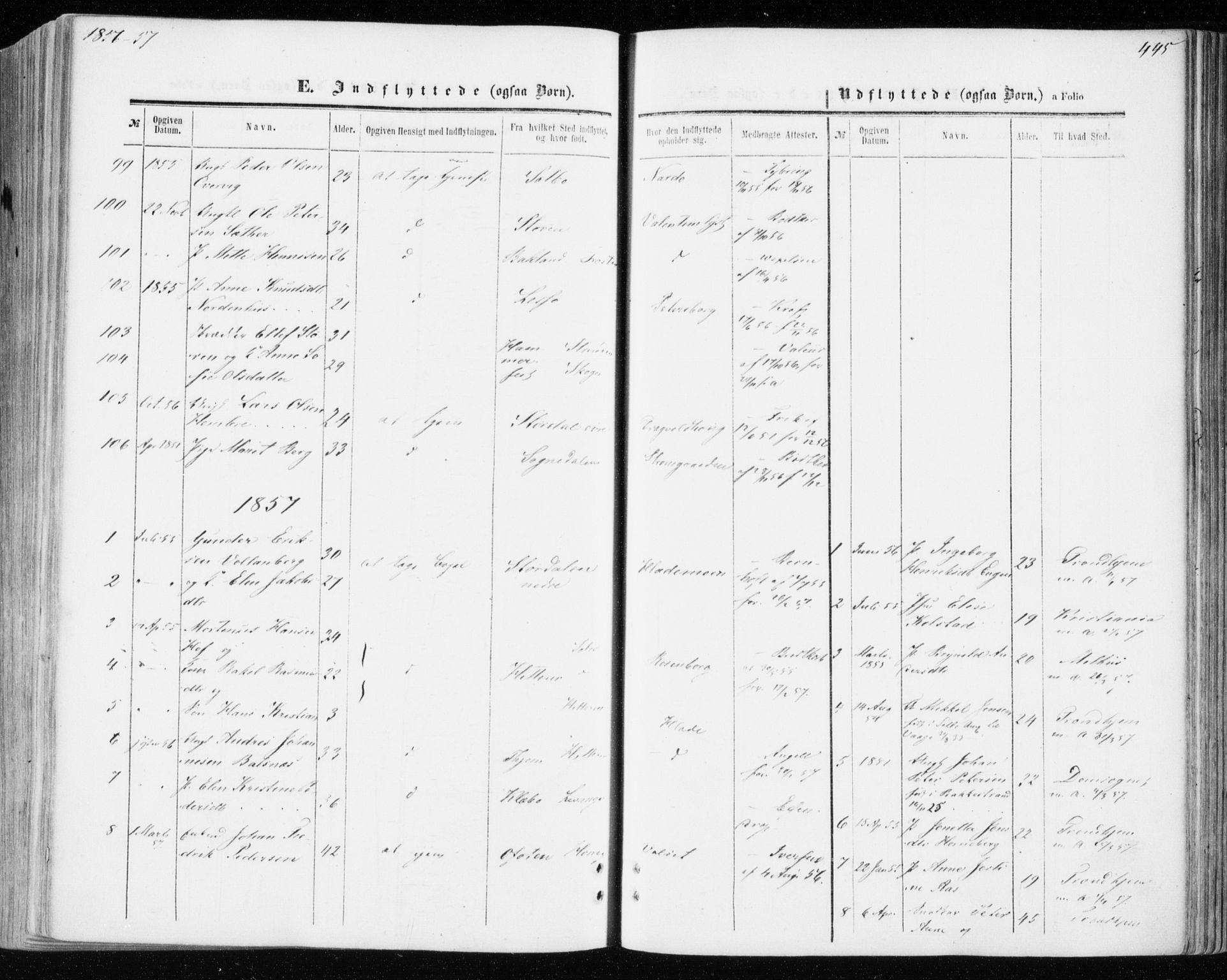 SAT, Ministerialprotokoller, klokkerbøker og fødselsregistre - Sør-Trøndelag, 606/L0292: Ministerialbok nr. 606A07, 1856-1865, s. 445