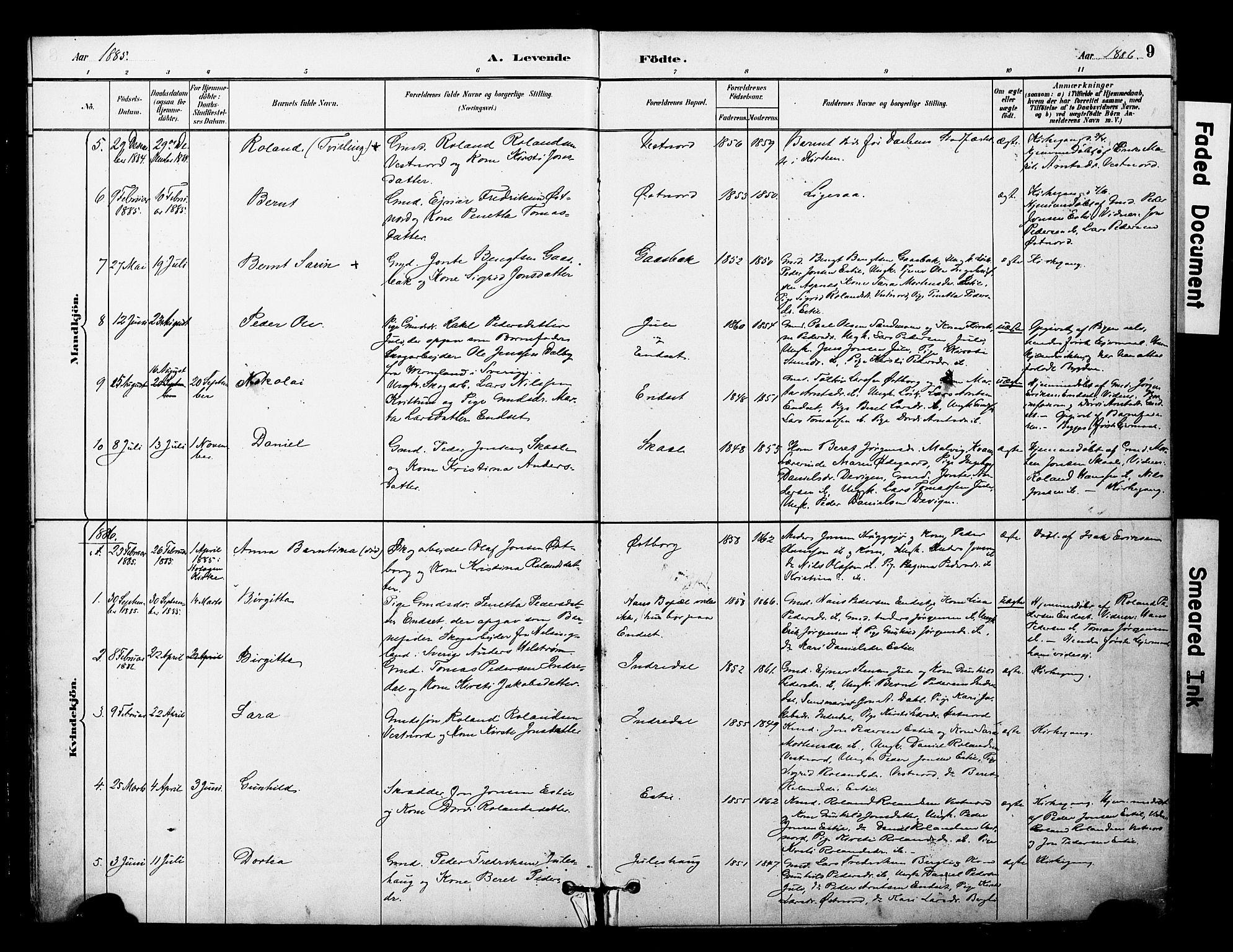 SAT, Ministerialprotokoller, klokkerbøker og fødselsregistre - Nord-Trøndelag, 757/L0505: Ministerialbok nr. 757A01, 1882-1904, s. 9