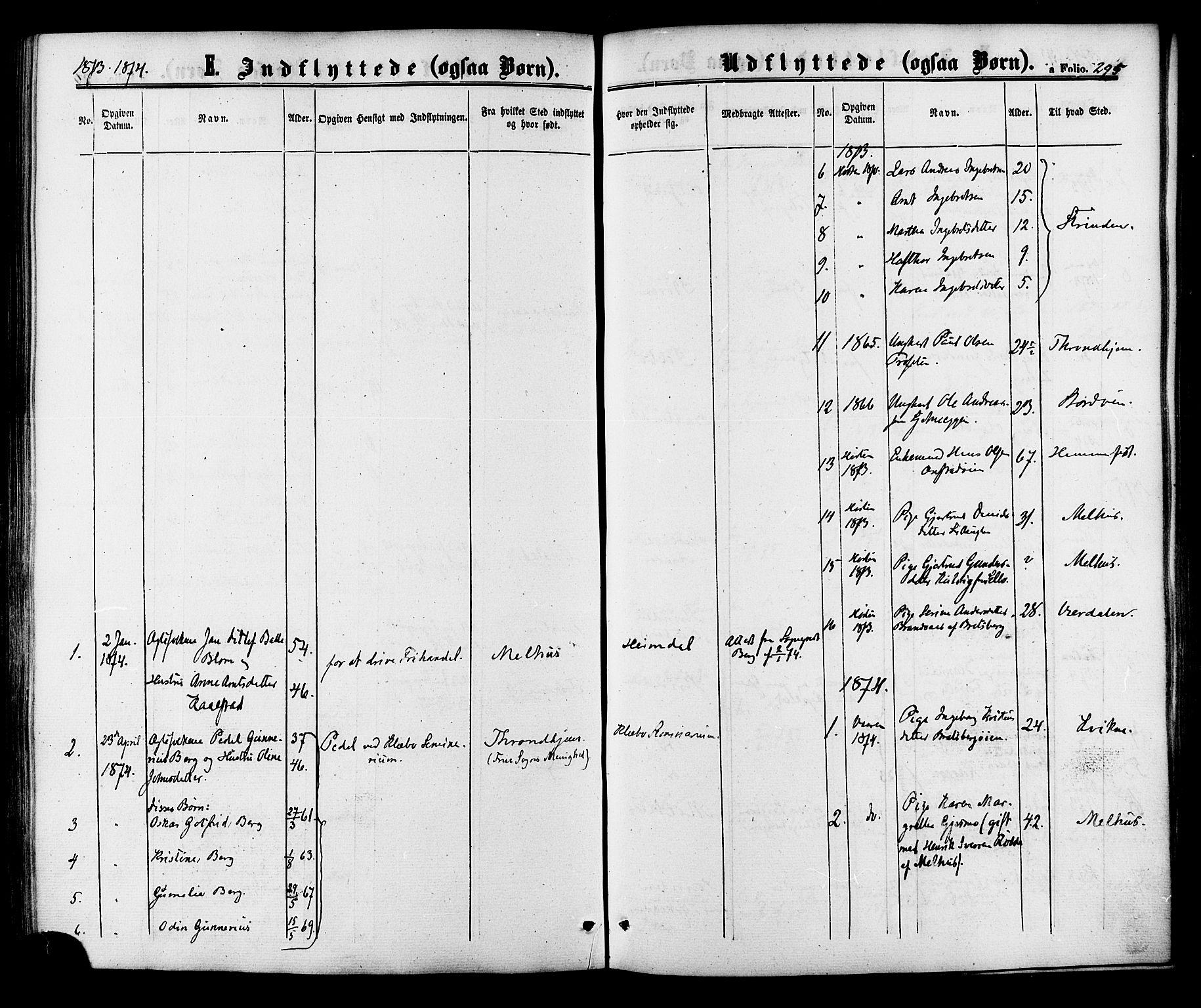 SAT, Ministerialprotokoller, klokkerbøker og fødselsregistre - Sør-Trøndelag, 618/L0442: Ministerialbok nr. 618A06 /1, 1863-1879, s. 295