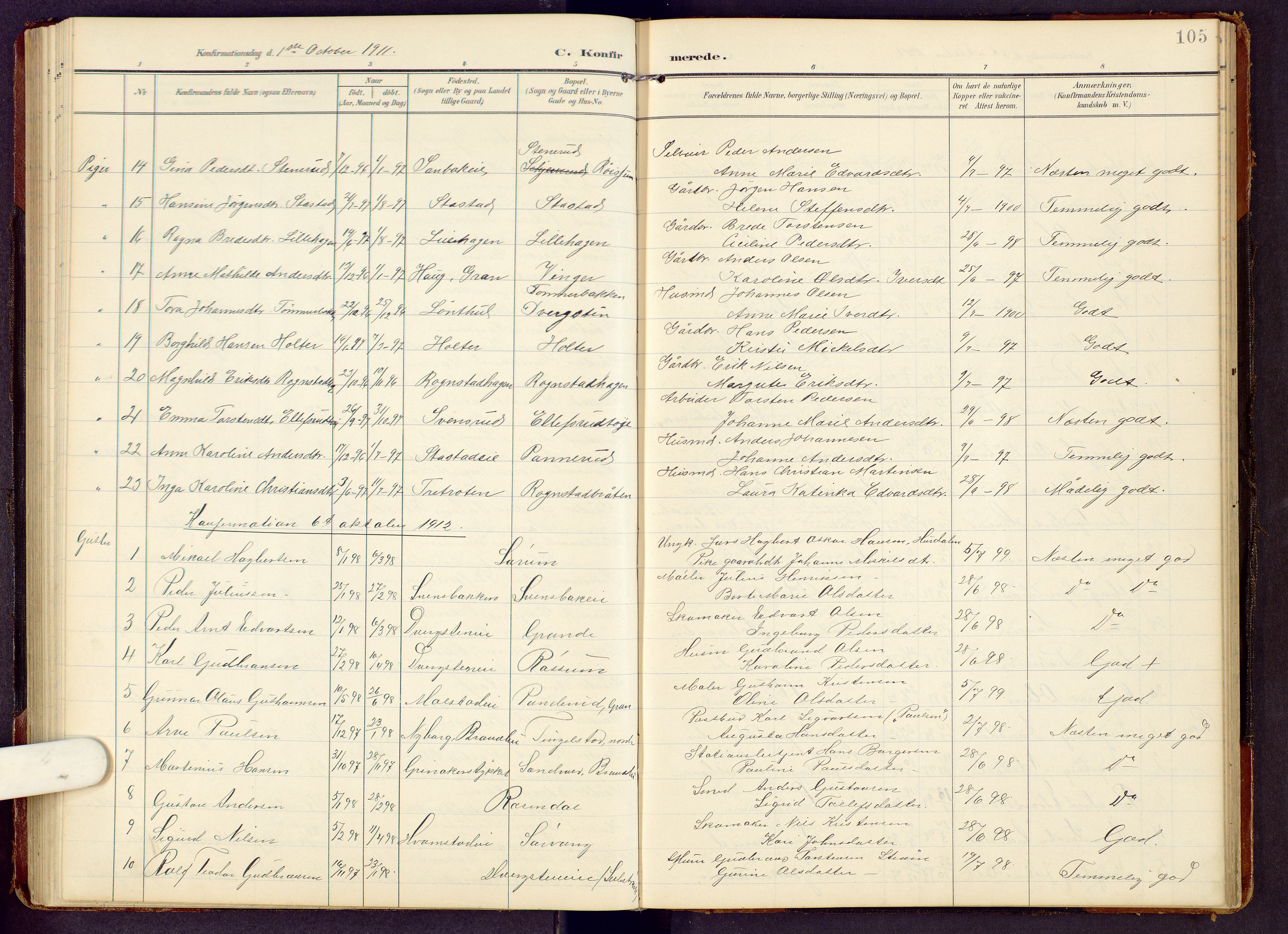 SAH, Brandbu prestekontor, Klokkerbok nr. 9, 1903-1916, s. 105