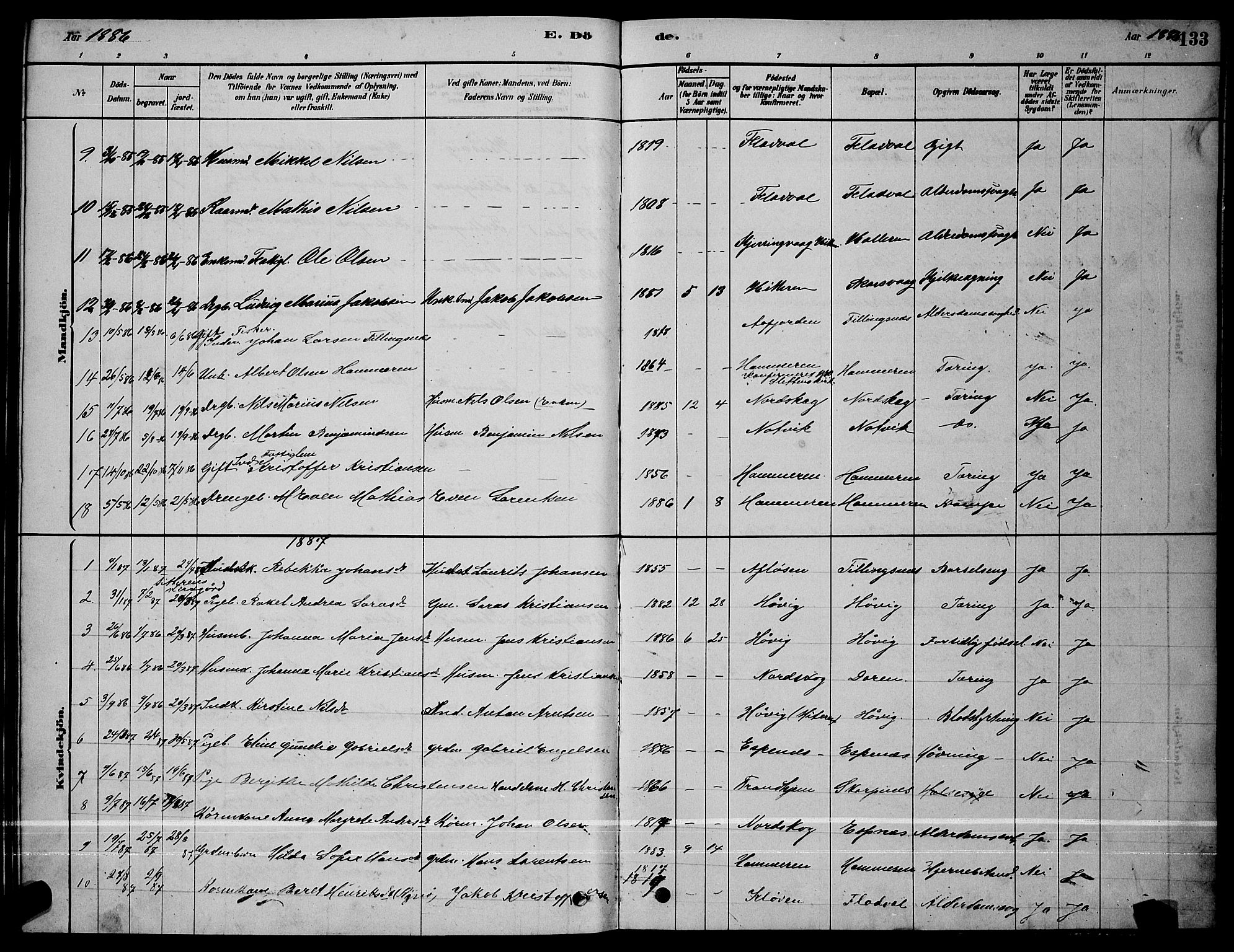 SAT, Ministerialprotokoller, klokkerbøker og fødselsregistre - Sør-Trøndelag, 641/L0597: Klokkerbok nr. 641C01, 1878-1893, s. 133