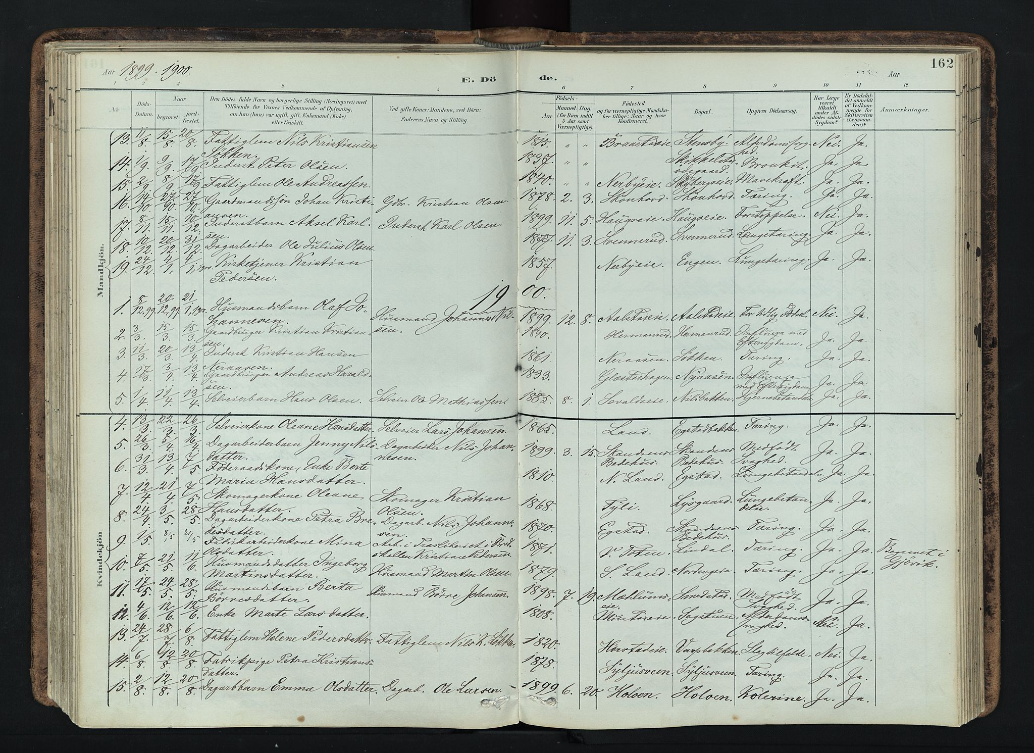 SAH, Vardal prestekontor, H/Ha/Haa/L0019: Ministerialbok nr. 19, 1893-1907, s. 162