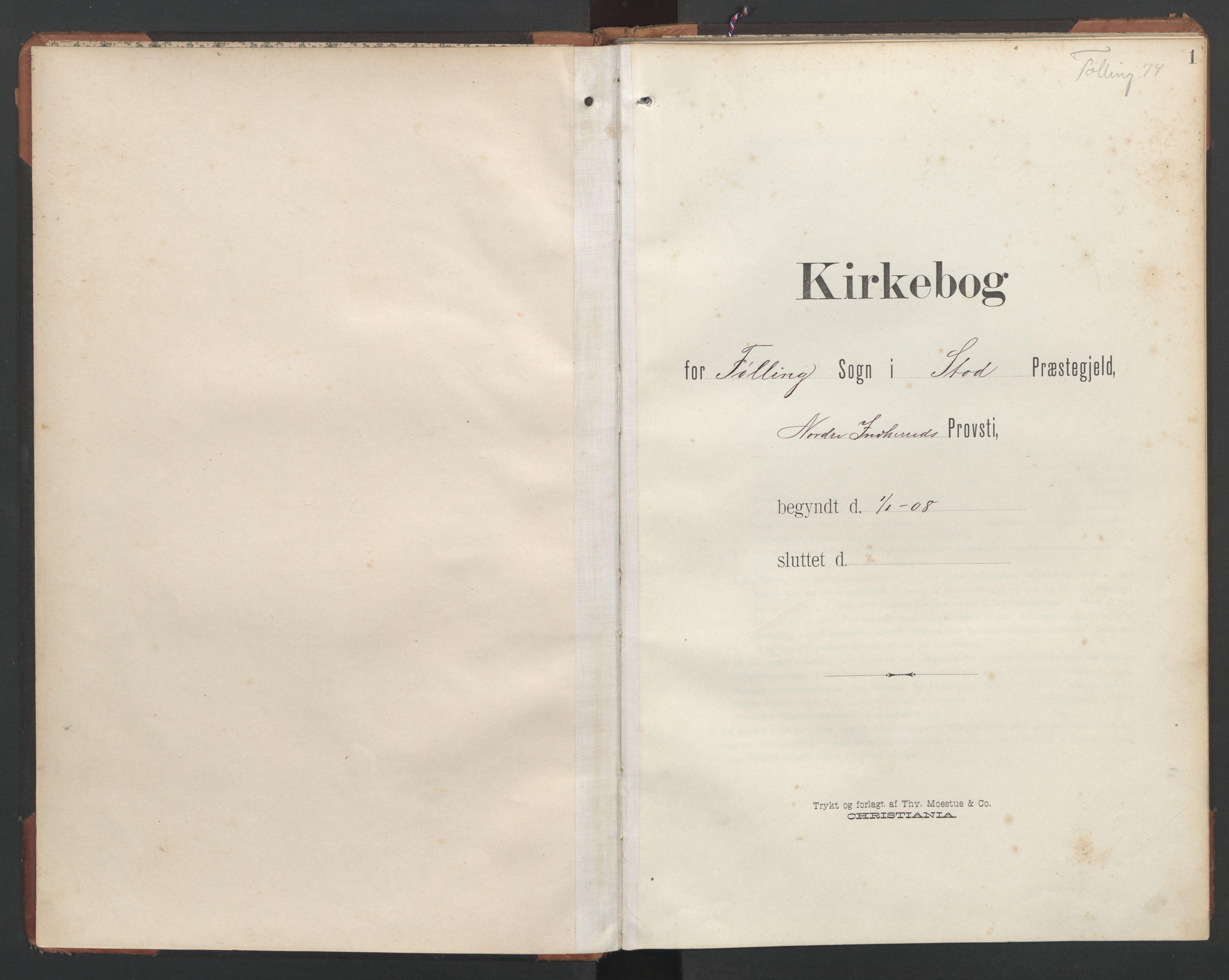 SAT, Ministerialprotokoller, klokkerbøker og fødselsregistre - Nord-Trøndelag, 748/L0465: Klokkerbok nr. 748C01, 1908-1960, s. 1