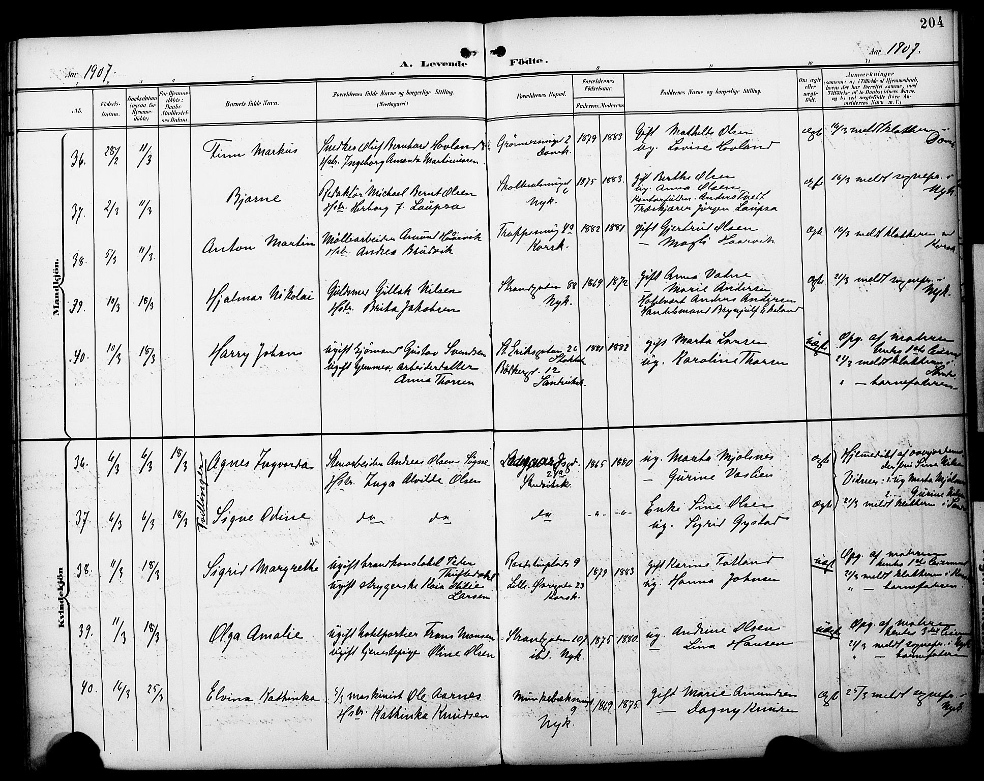 SAB, Fødselsstiftelsens sokneprestembete*, Ministerialbok nr. A 3, 1901-1910, s. 204