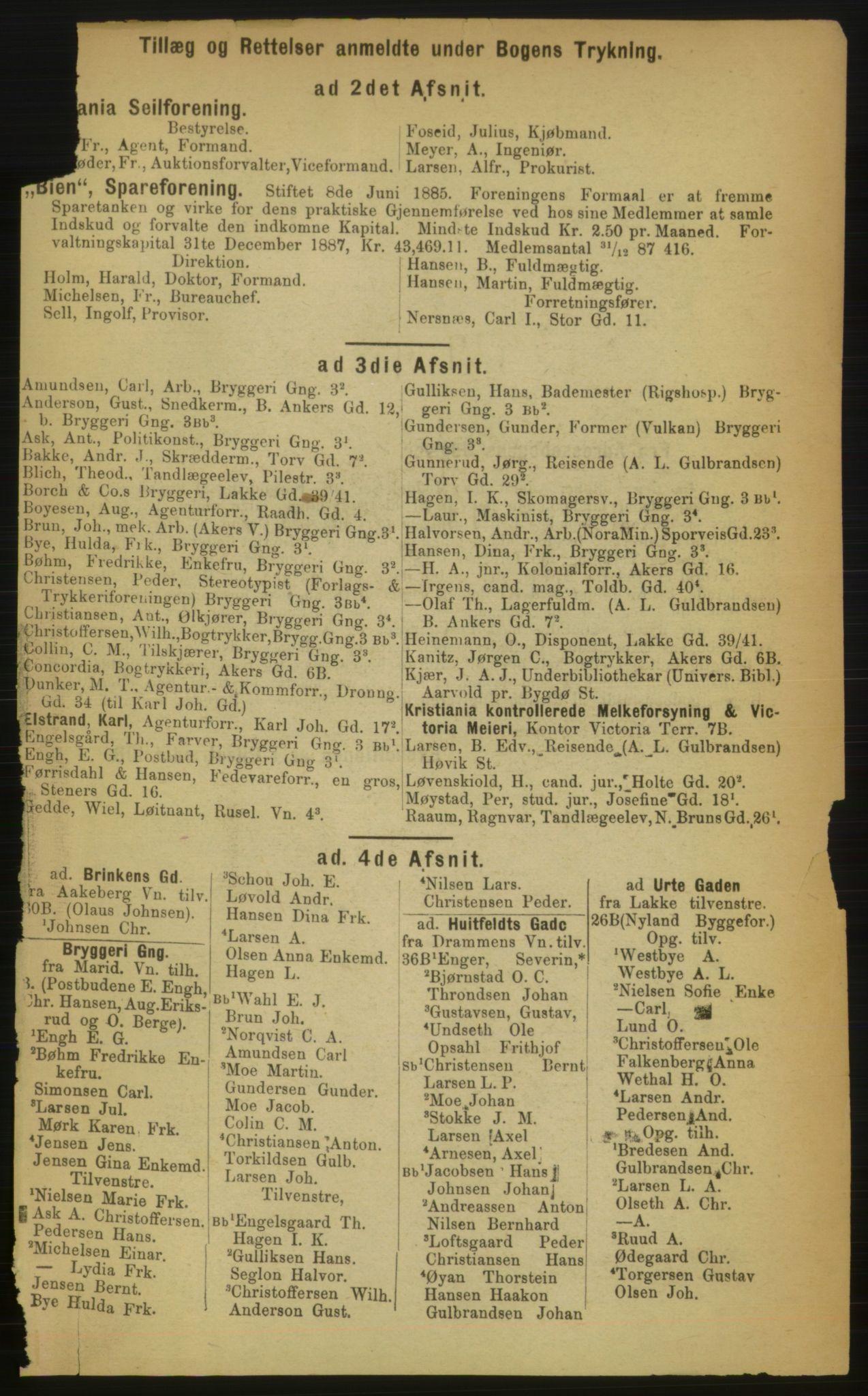 RA, Kristiania adressebok (publikasjon)*, 1889, s. upaginert