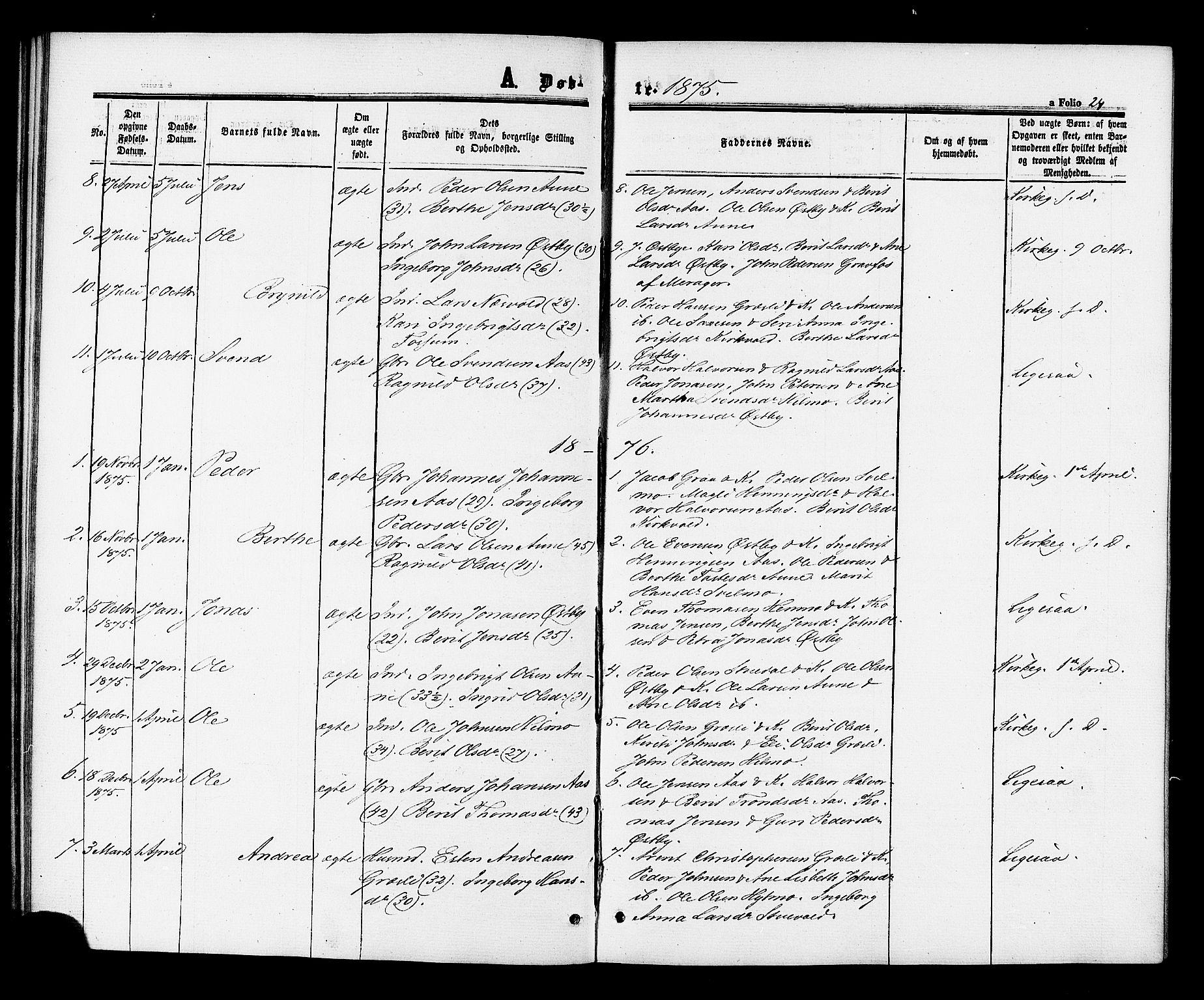 SAT, Ministerialprotokoller, klokkerbøker og fødselsregistre - Sør-Trøndelag, 698/L1163: Ministerialbok nr. 698A01, 1862-1887, s. 24