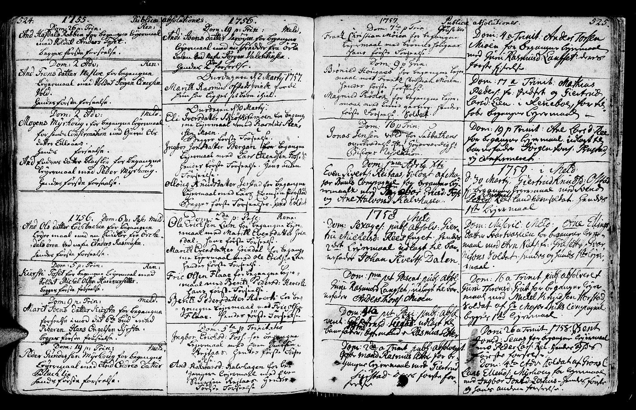SAT, Ministerialprotokoller, klokkerbøker og fødselsregistre - Sør-Trøndelag, 672/L0851: Ministerialbok nr. 672A04, 1751-1775, s. 524-525