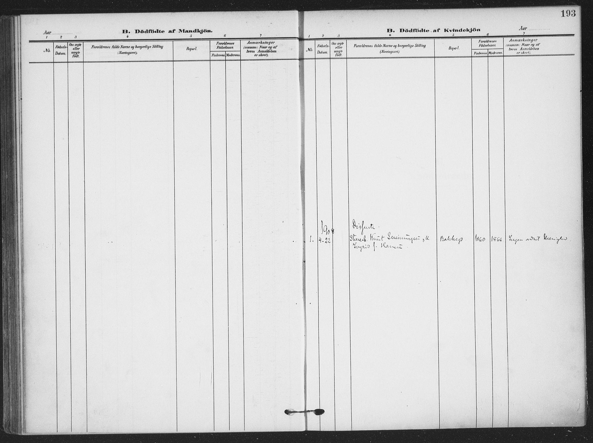 SAKO, Skien kirkebøker, F/Fa/L0012: Ministerialbok nr. 12, 1908-1914, s. 193