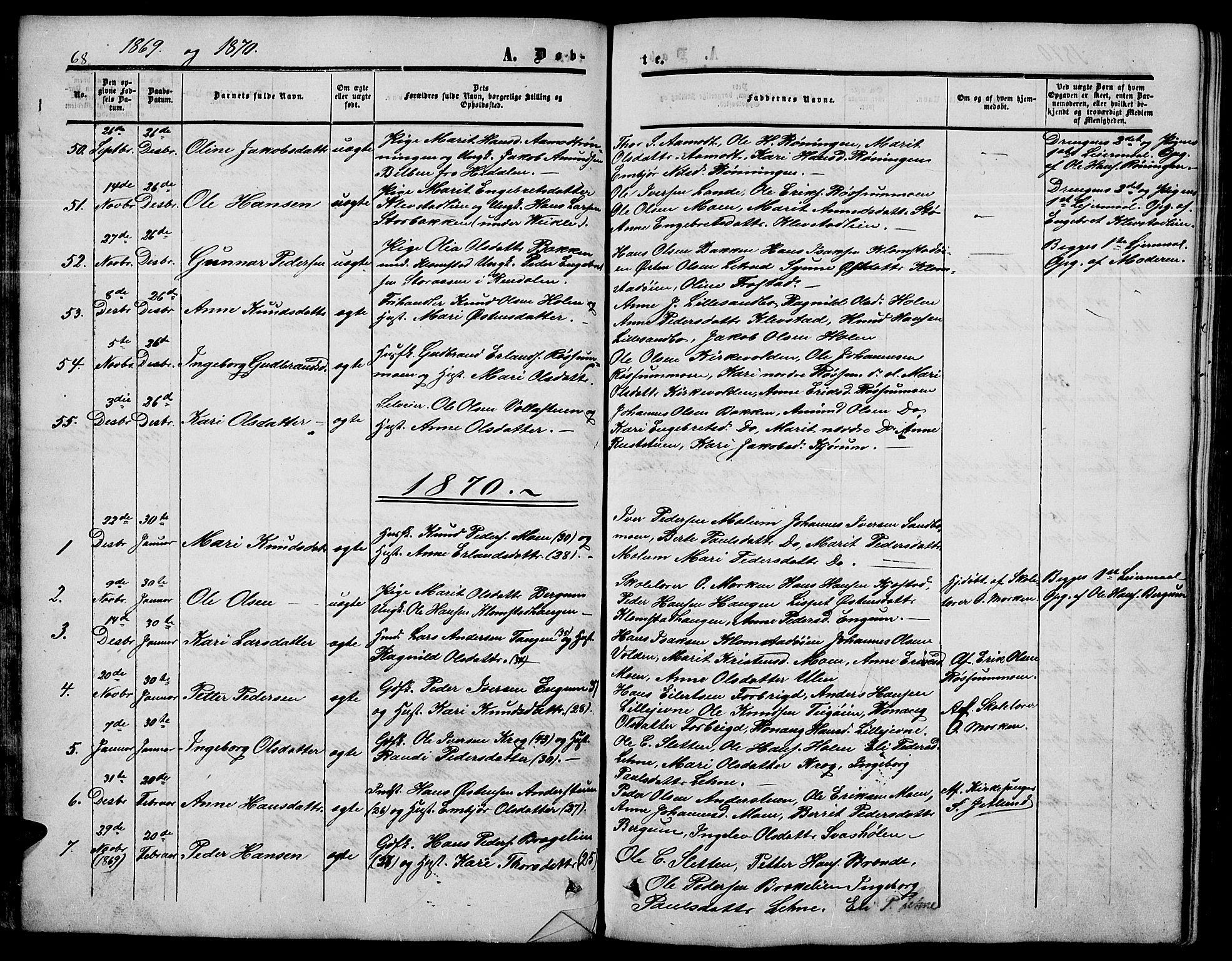 SAH, Nord-Fron prestekontor, Klokkerbok nr. 3, 1851-1886, s. 68