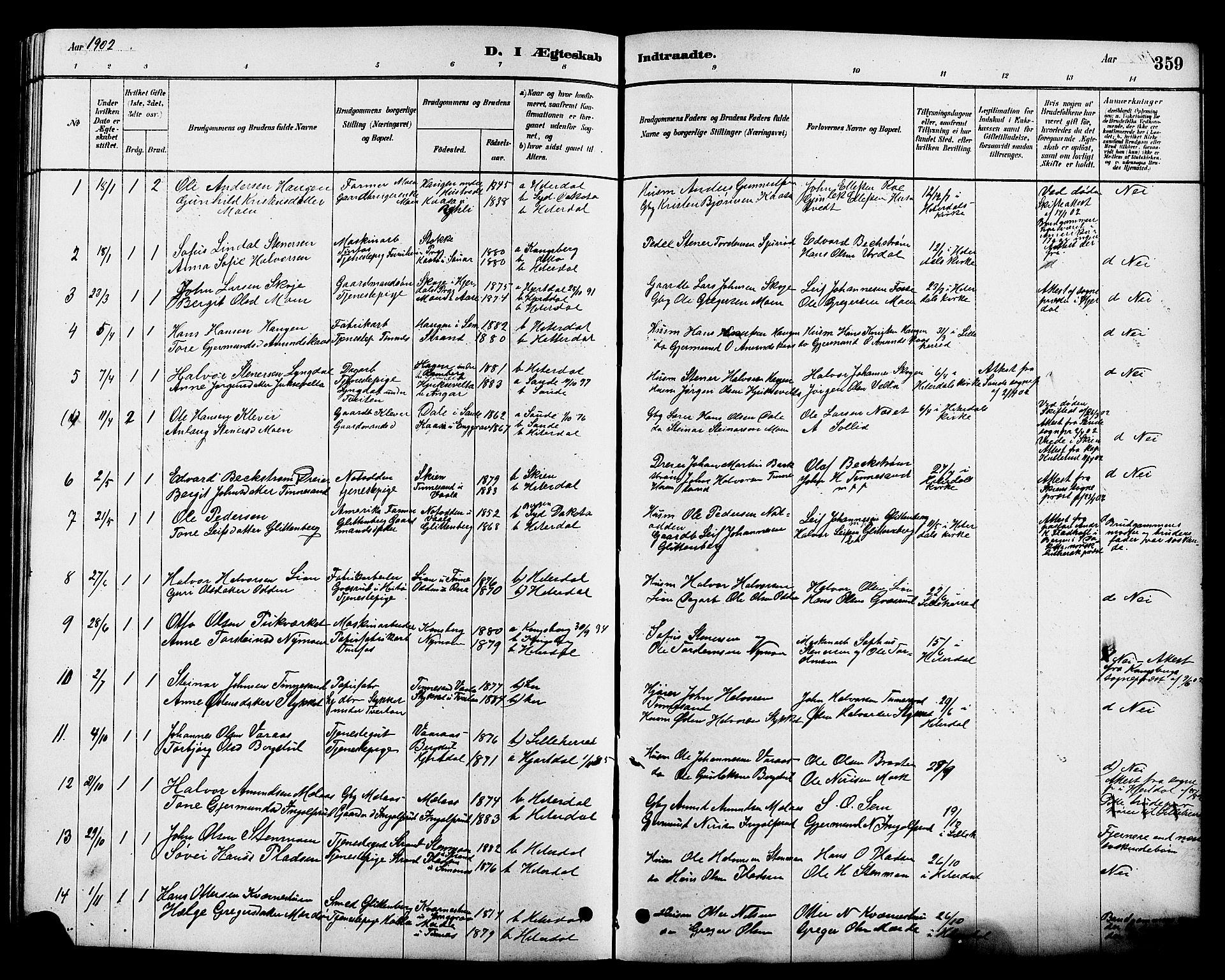 SAKO, Heddal kirkebøker, G/Ga/L0002: Klokkerbok nr. I 2, 1879-1908, s. 359