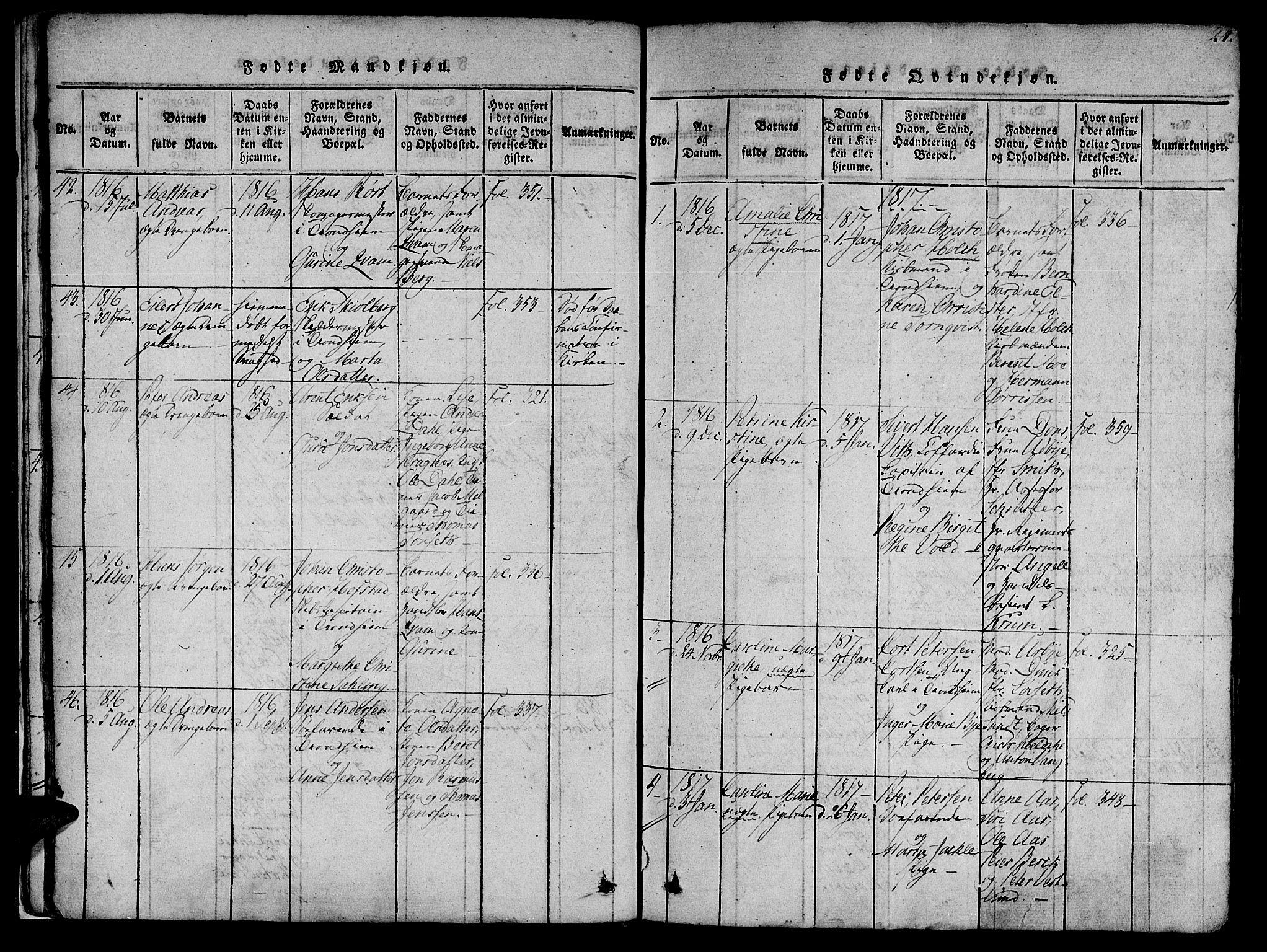 SAT, Ministerialprotokoller, klokkerbøker og fødselsregistre - Sør-Trøndelag, 602/L0135: Klokkerbok nr. 602C03, 1815-1832, s. 24