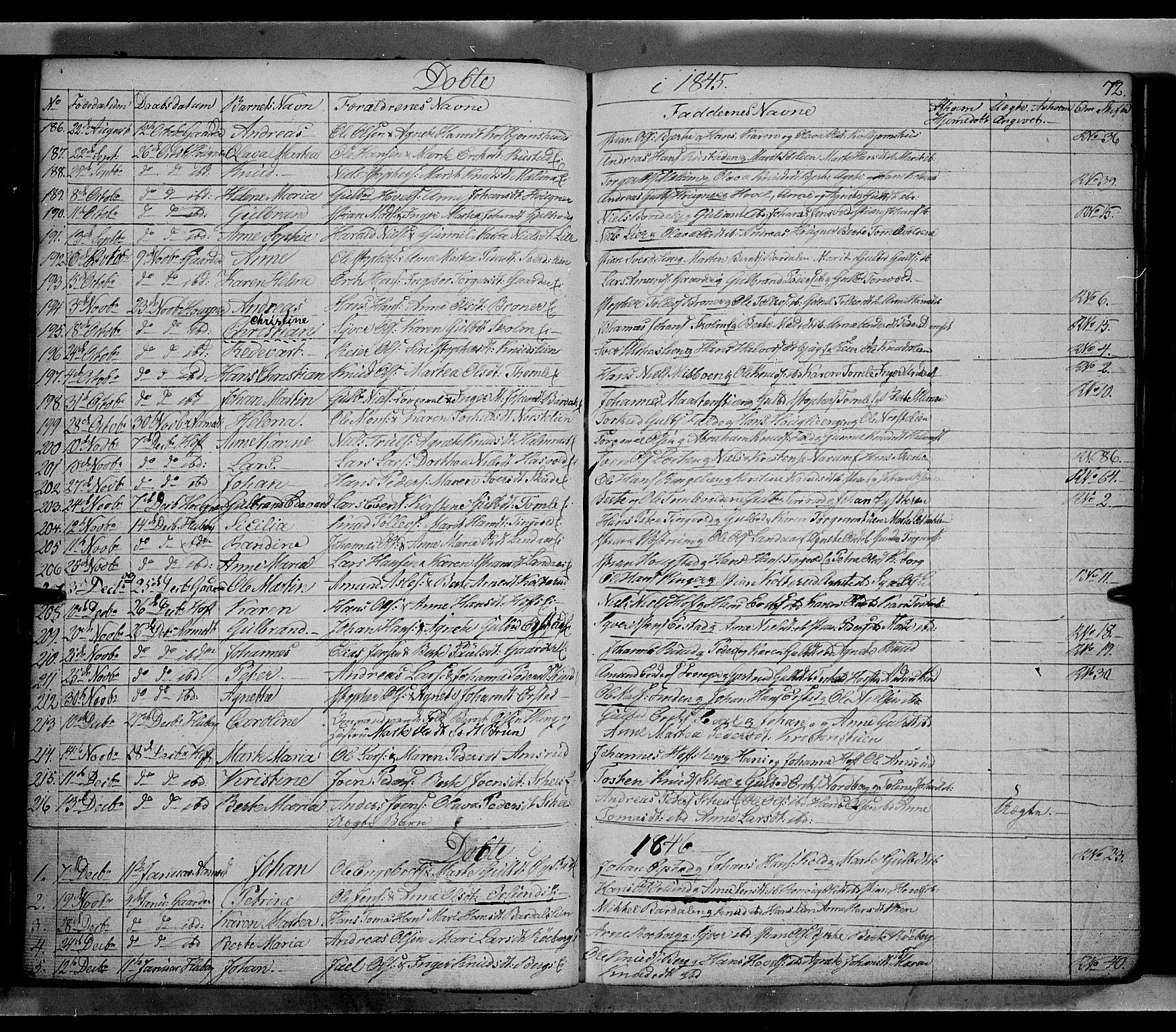 SAH, Land prestekontor, Klokkerbok nr. 2, 1833-1849, s. 72