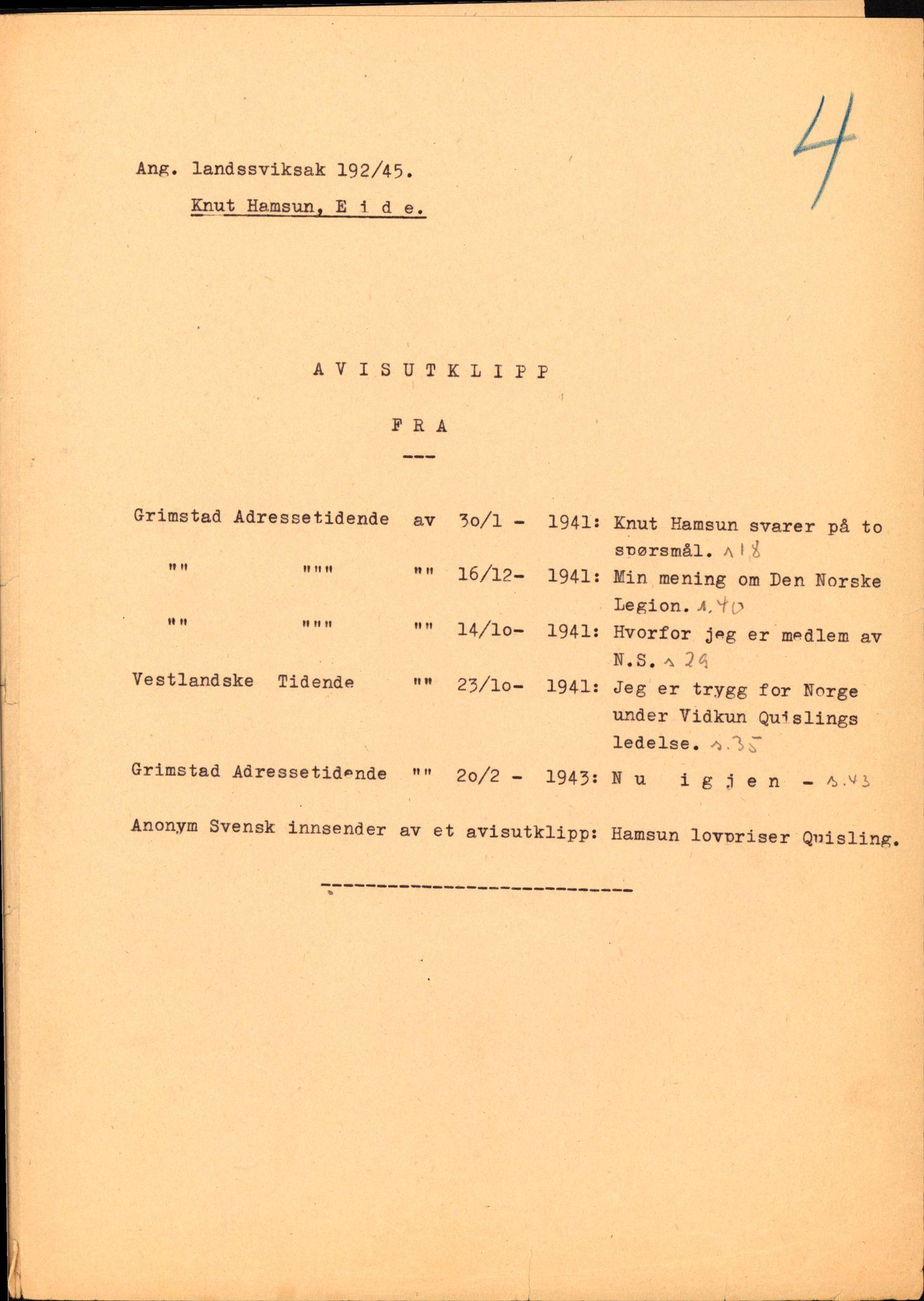 RA, Landssvikarkivet, Arendal politikammer, D/Dc/L0029: Anr. 192/45, 1945-1951, s. 44