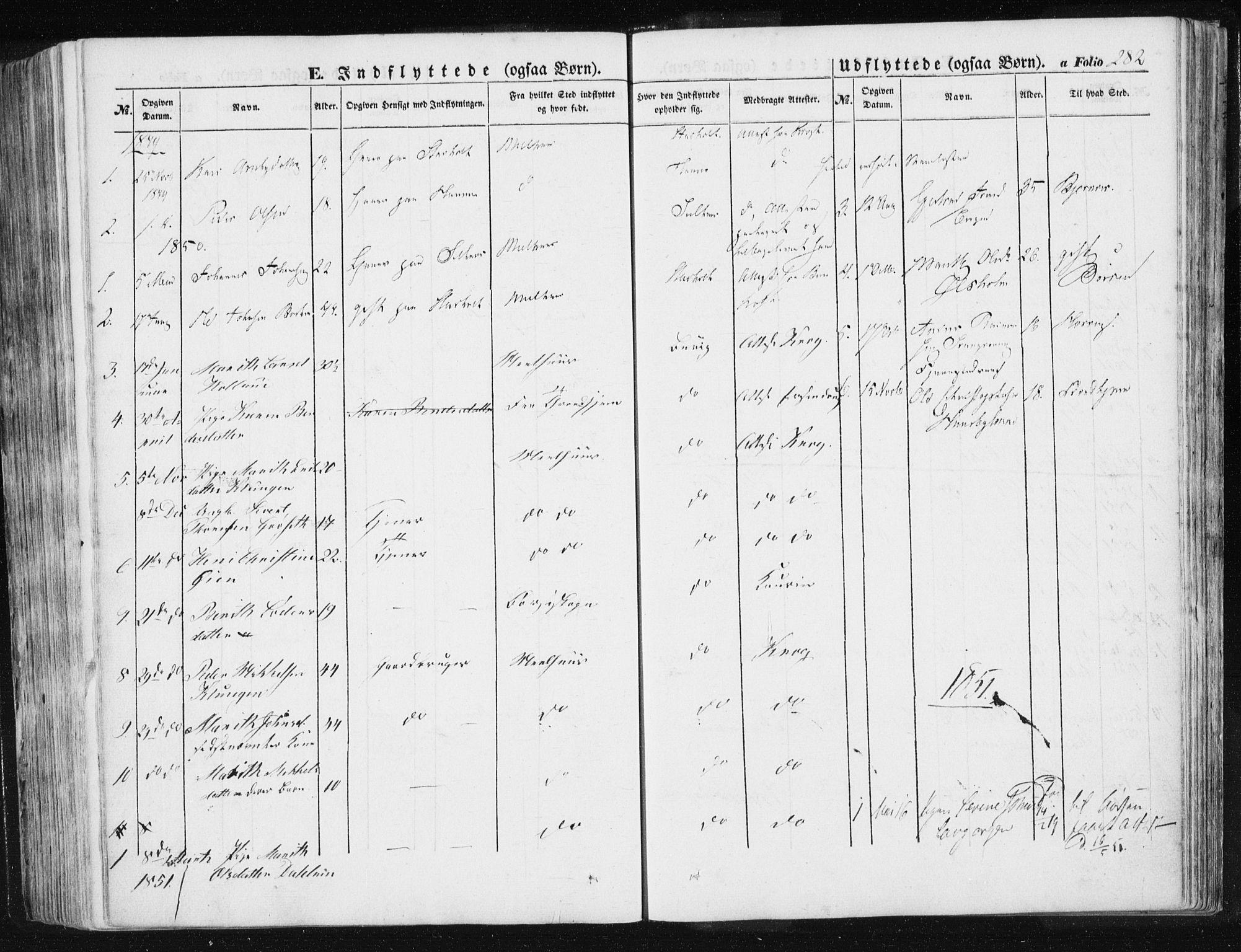 SAT, Ministerialprotokoller, klokkerbøker og fødselsregistre - Sør-Trøndelag, 612/L0376: Ministerialbok nr. 612A08, 1846-1859, s. 282