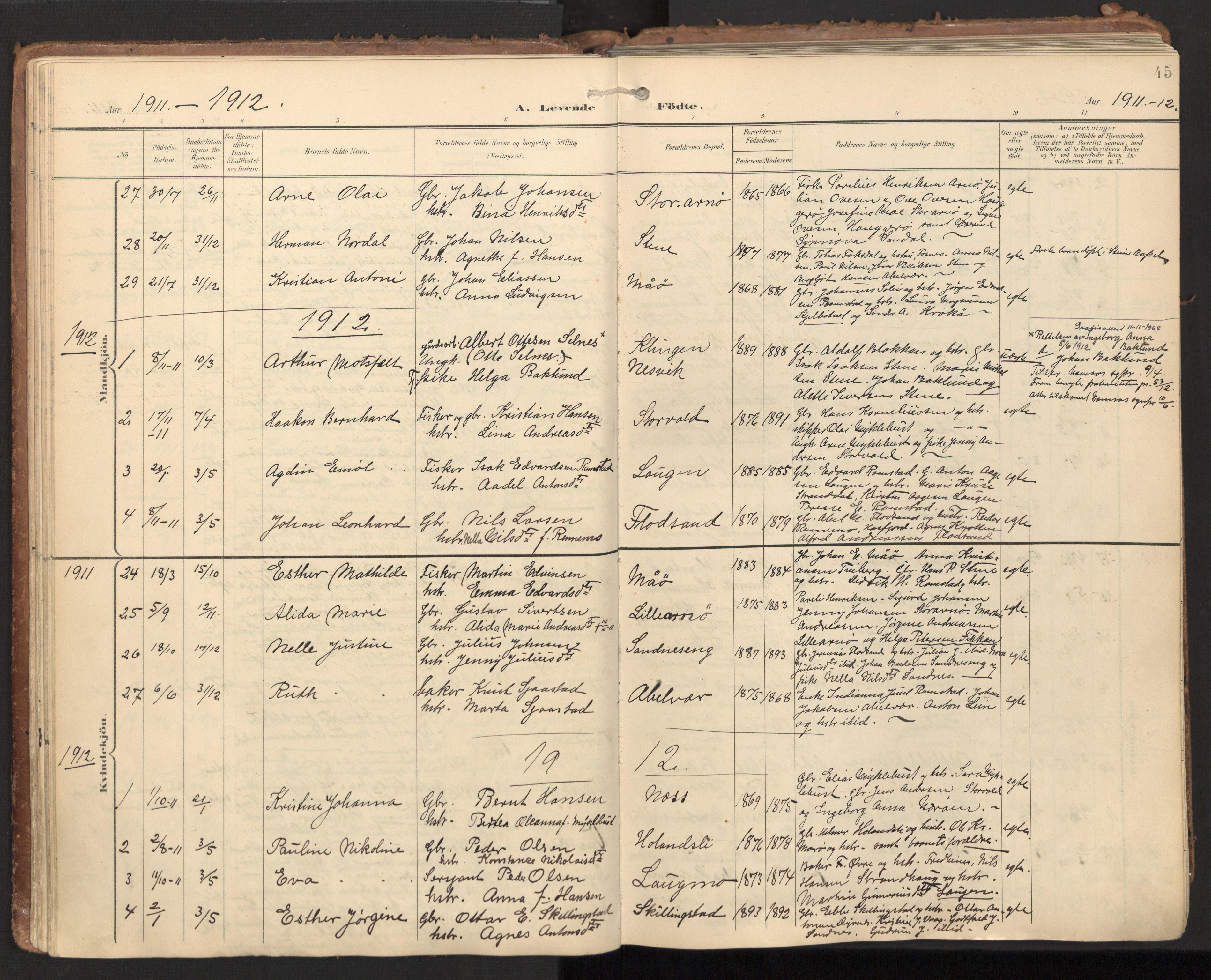 SAT, Ministerialprotokoller, klokkerbøker og fødselsregistre - Nord-Trøndelag, 784/L0677: Ministerialbok nr. 784A12, 1900-1920, s. 45