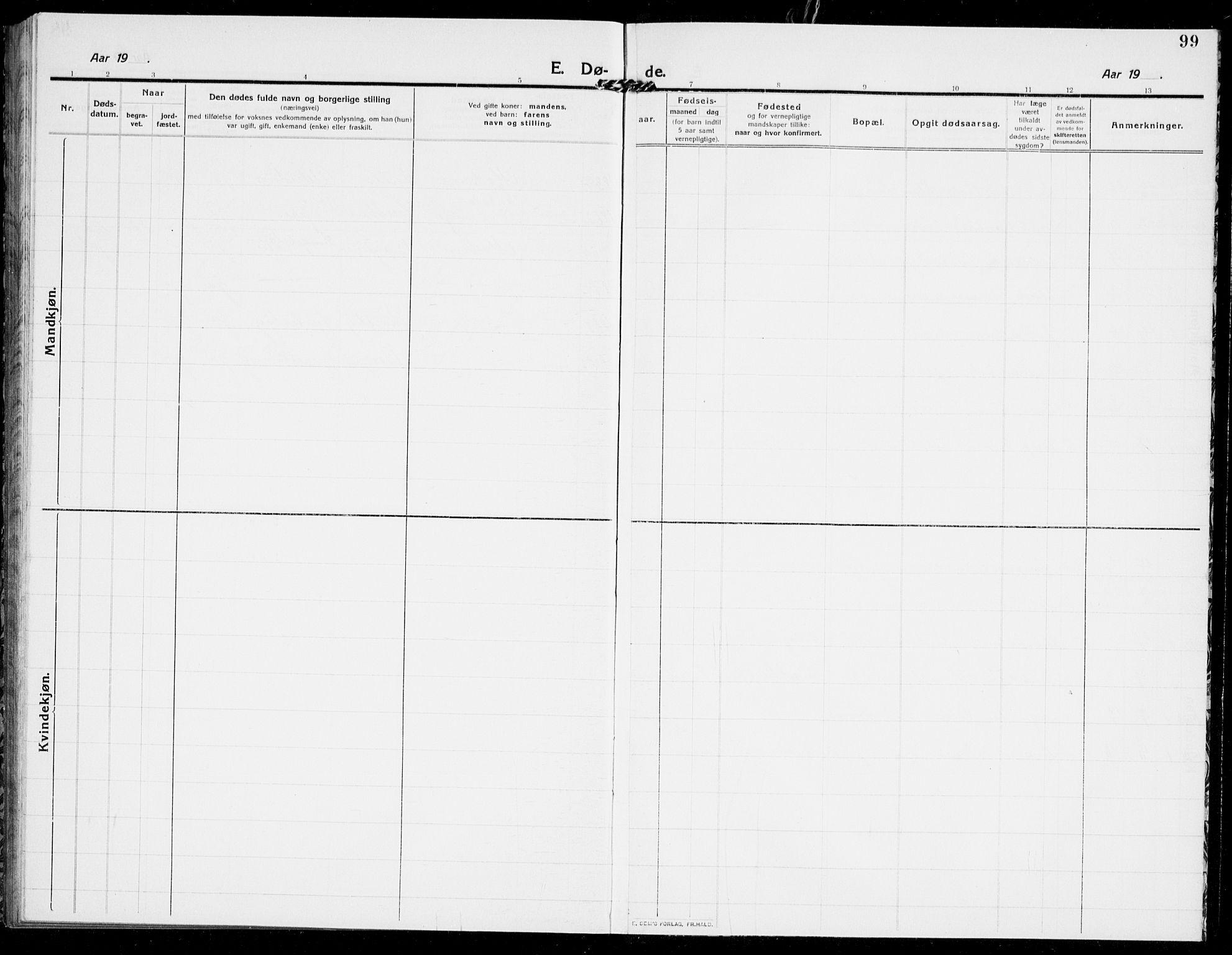 SAKO, Modum kirkebøker, G/Ga/L0011: Klokkerbok nr. I 11, 1910-1925, s. 99