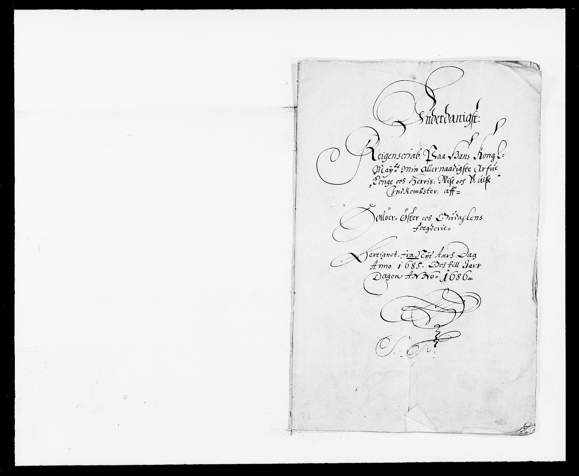 RA, Rentekammeret inntil 1814, Reviderte regnskaper, Fogderegnskap, R13/L0822: Fogderegnskap Solør, Odal og Østerdal, 1685, s. 2