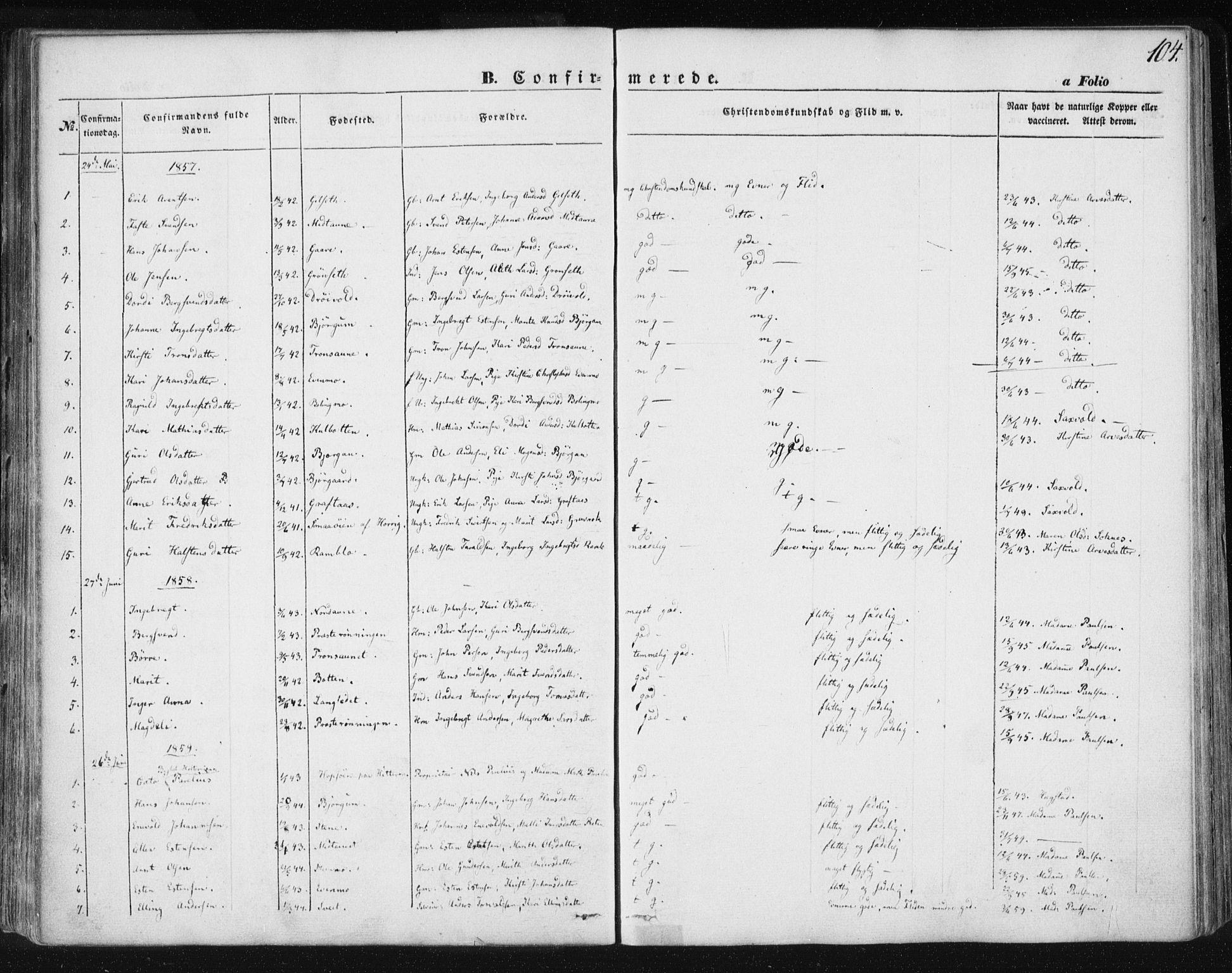 SAT, Ministerialprotokoller, klokkerbøker og fødselsregistre - Sør-Trøndelag, 685/L0963: Ministerialbok nr. 685A06 /1, 1846-1859, s. 104