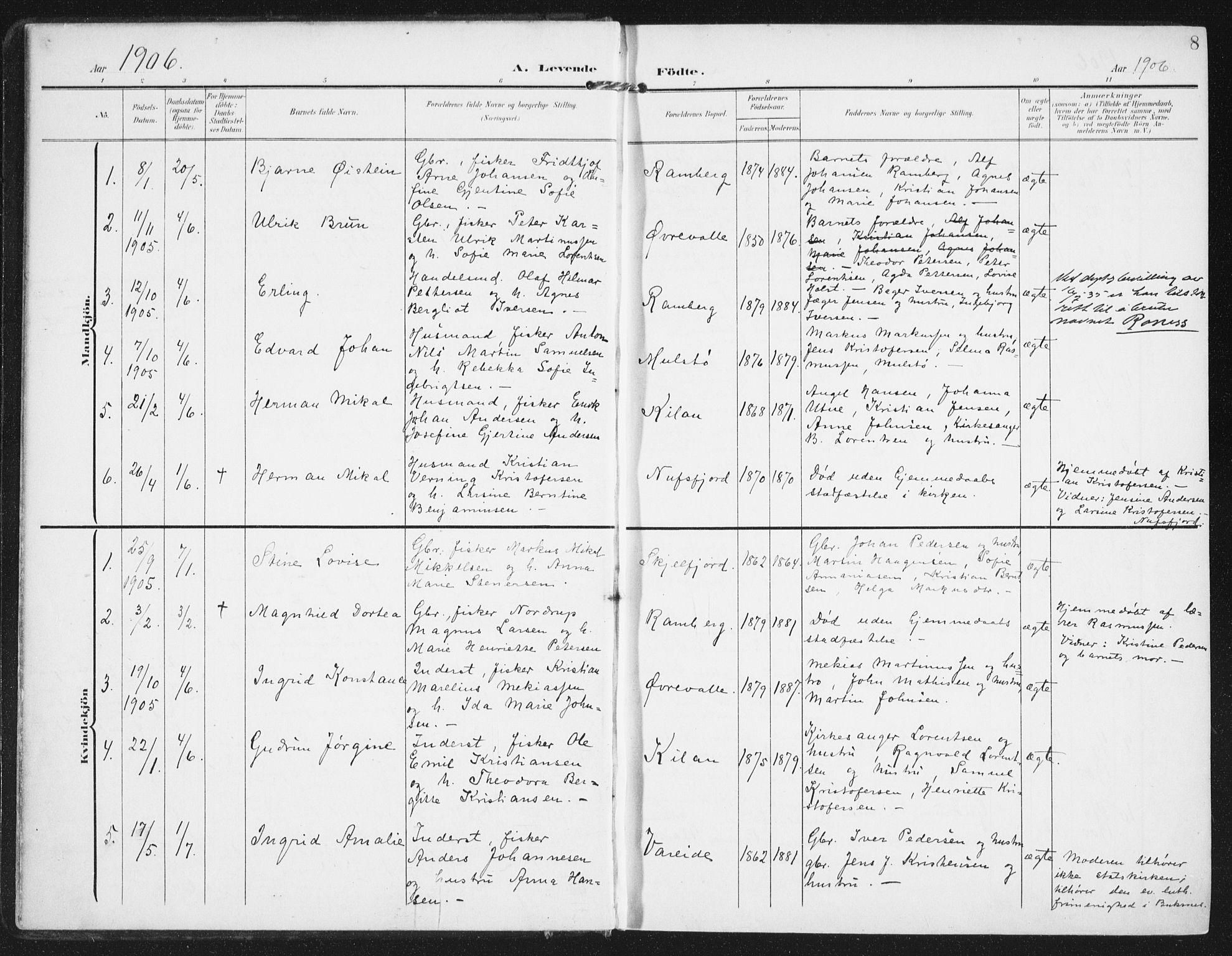 SAT, Ministerialprotokoller, klokkerbøker og fødselsregistre - Nordland, 885/L1206: Ministerialbok nr. 885A07, 1905-1915, s. 8