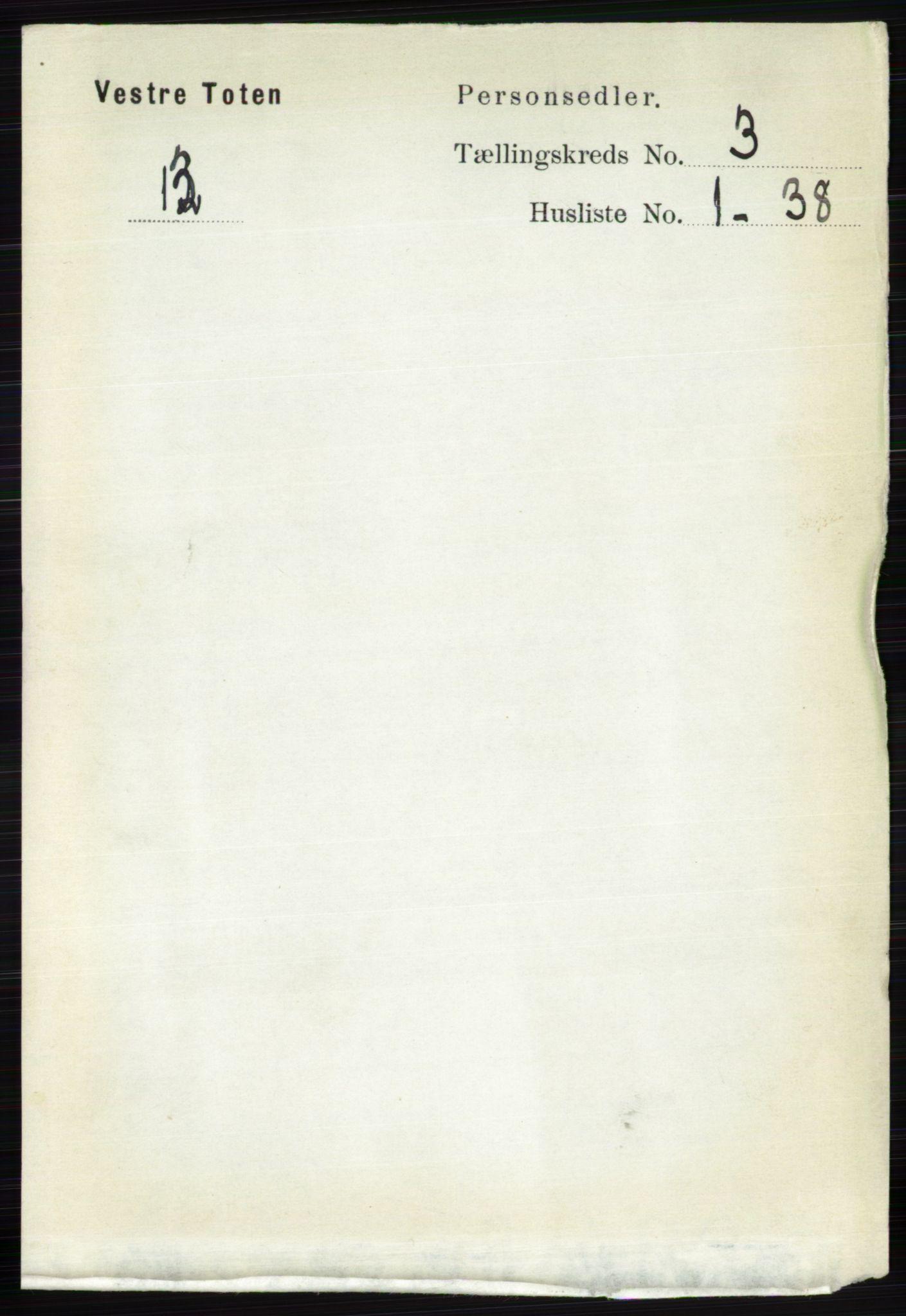 RA, Folketelling 1891 for 0529 Vestre Toten herred, 1891, s. 1992
