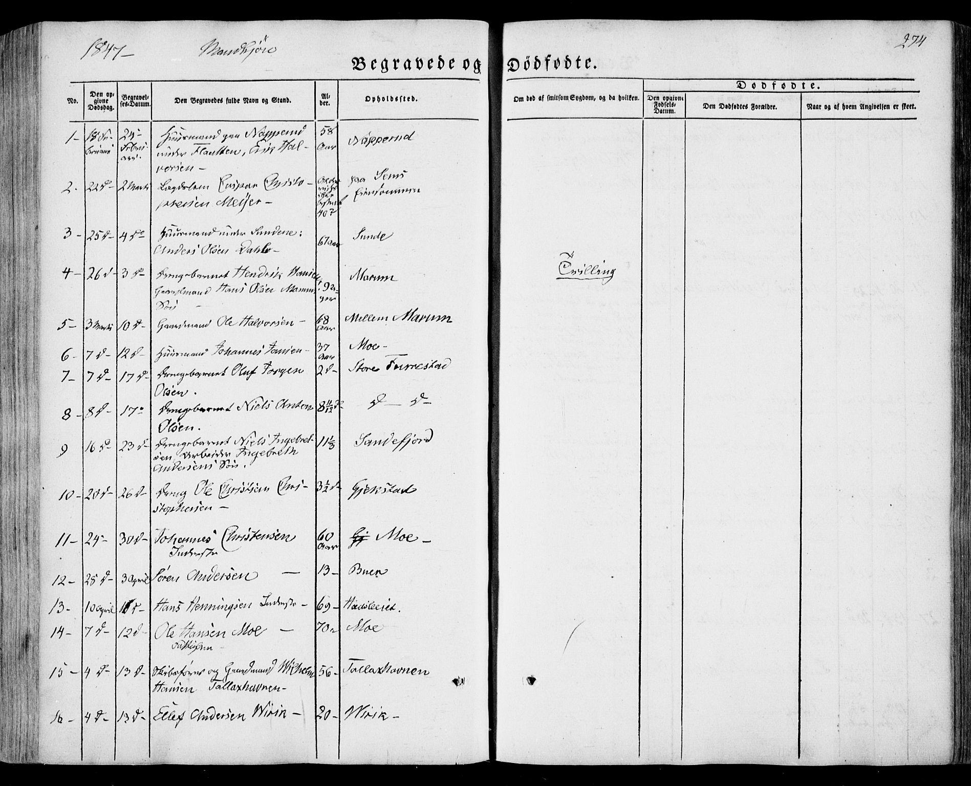 SAKO, Sandar kirkebøker, F/Fa/L0006: Ministerialbok nr. 6, 1847-1860, s. 274