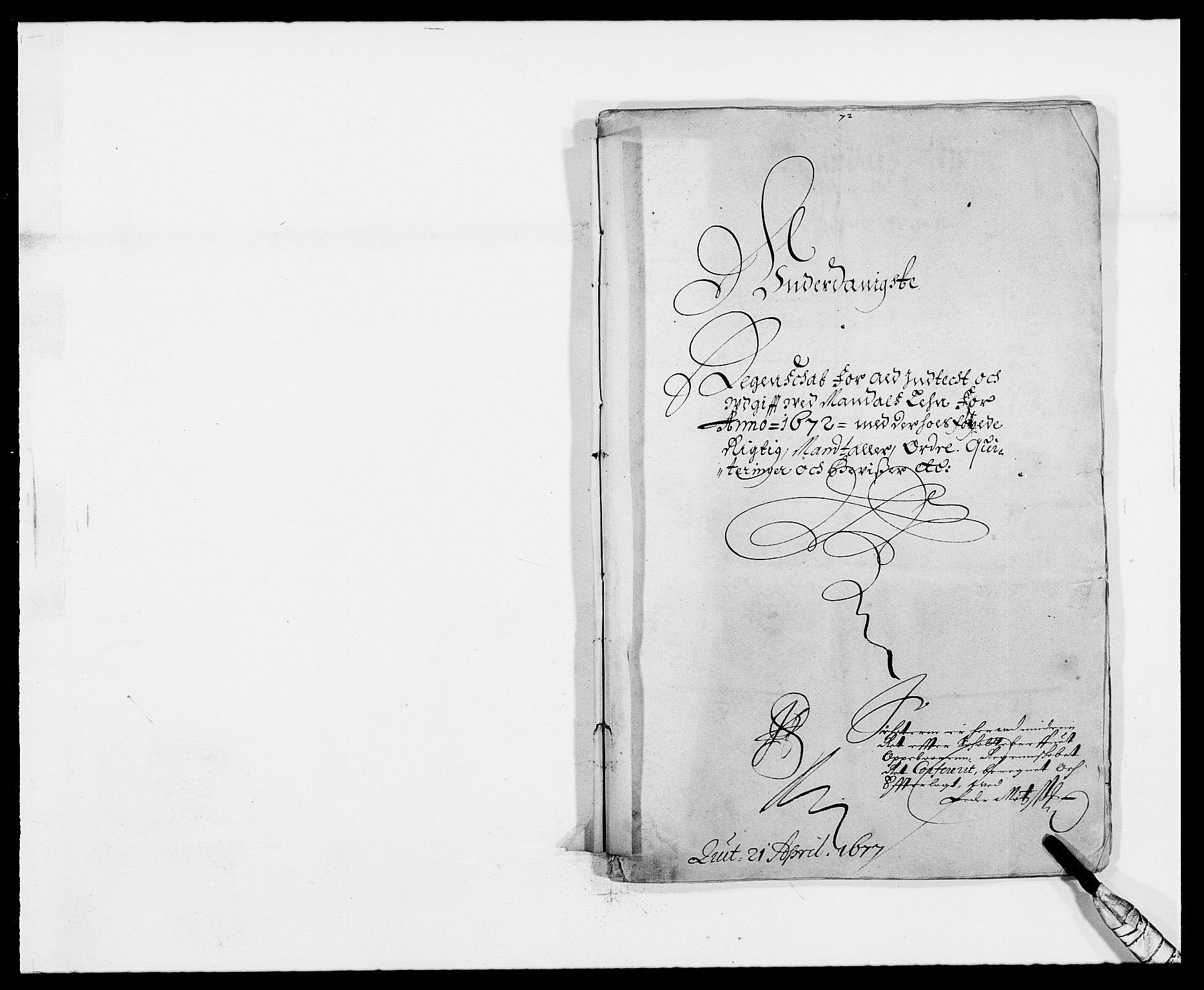 RA, Rentekammeret inntil 1814, Reviderte regnskaper, Fogderegnskap, R42/L2539: Mandal fogderi, 1671-1675, s. 64
