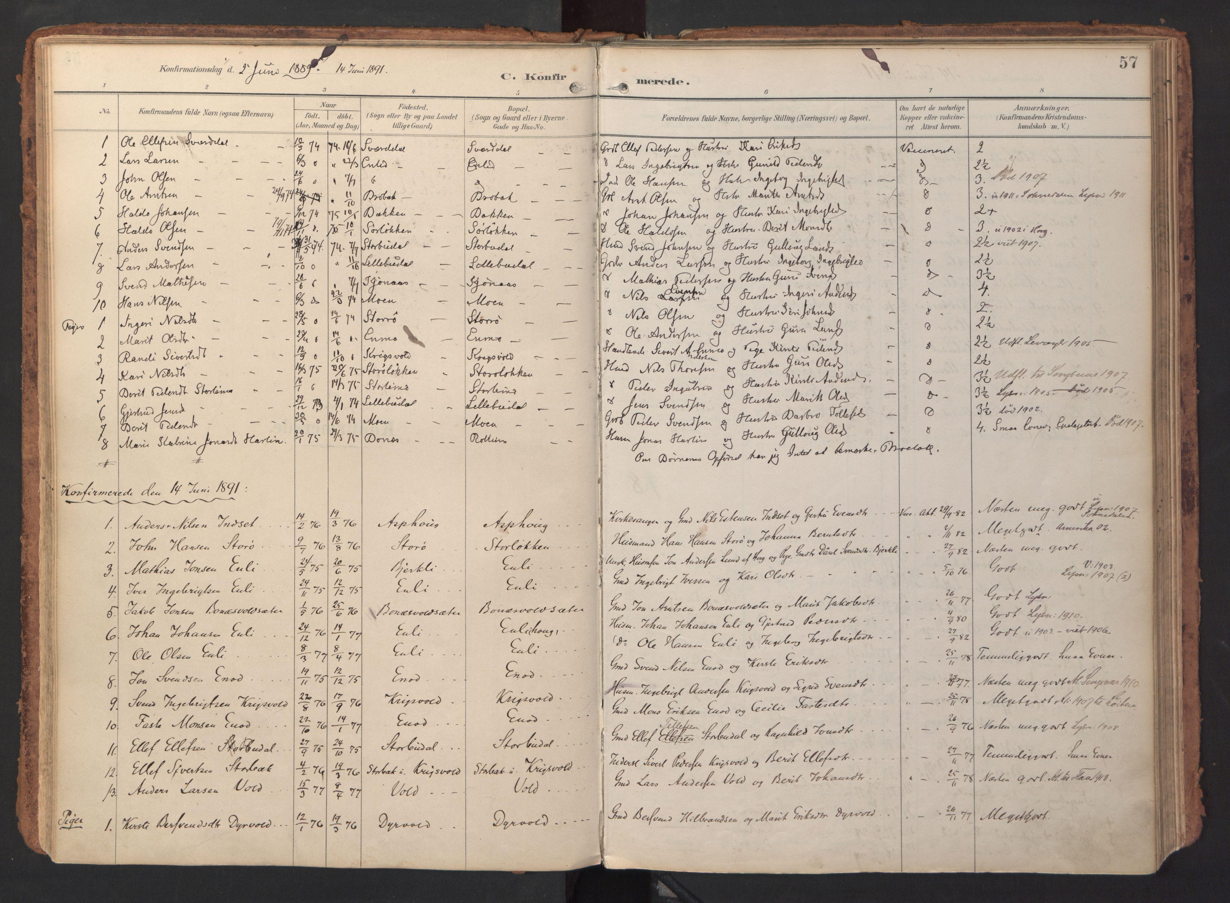 SAT, Ministerialprotokoller, klokkerbøker og fødselsregistre - Sør-Trøndelag, 690/L1050: Ministerialbok nr. 690A01, 1889-1929, s. 57