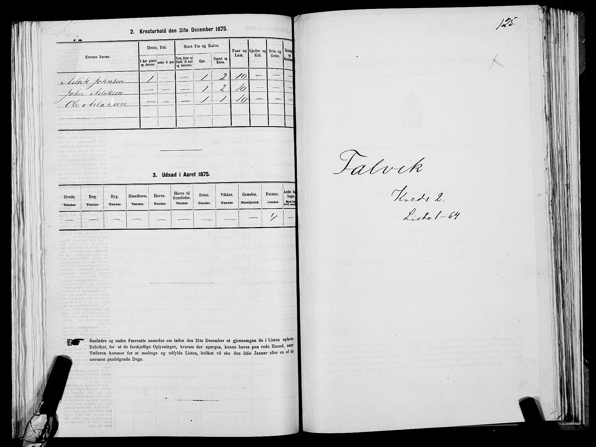 SATØ, Folketelling 1875 for 2013P Talvik prestegjeld, 1875, s. 1125