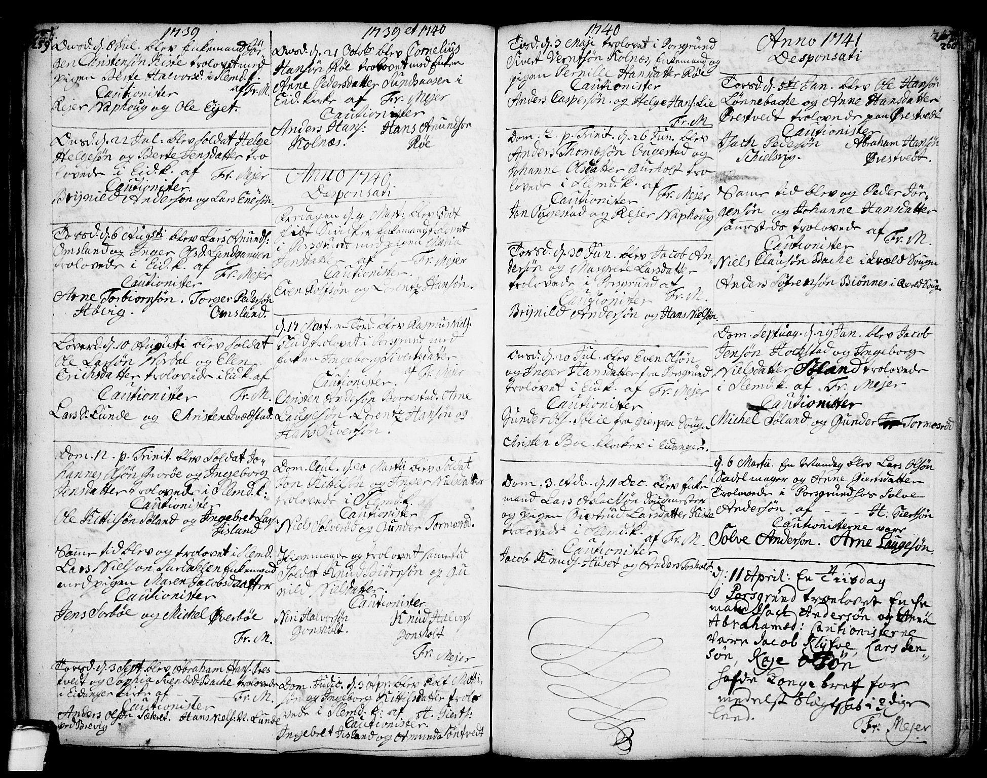 SAKO, Eidanger kirkebøker, F/Fa/L0004: Ministerialbok nr. 4, 1733-1759, s. 259-260