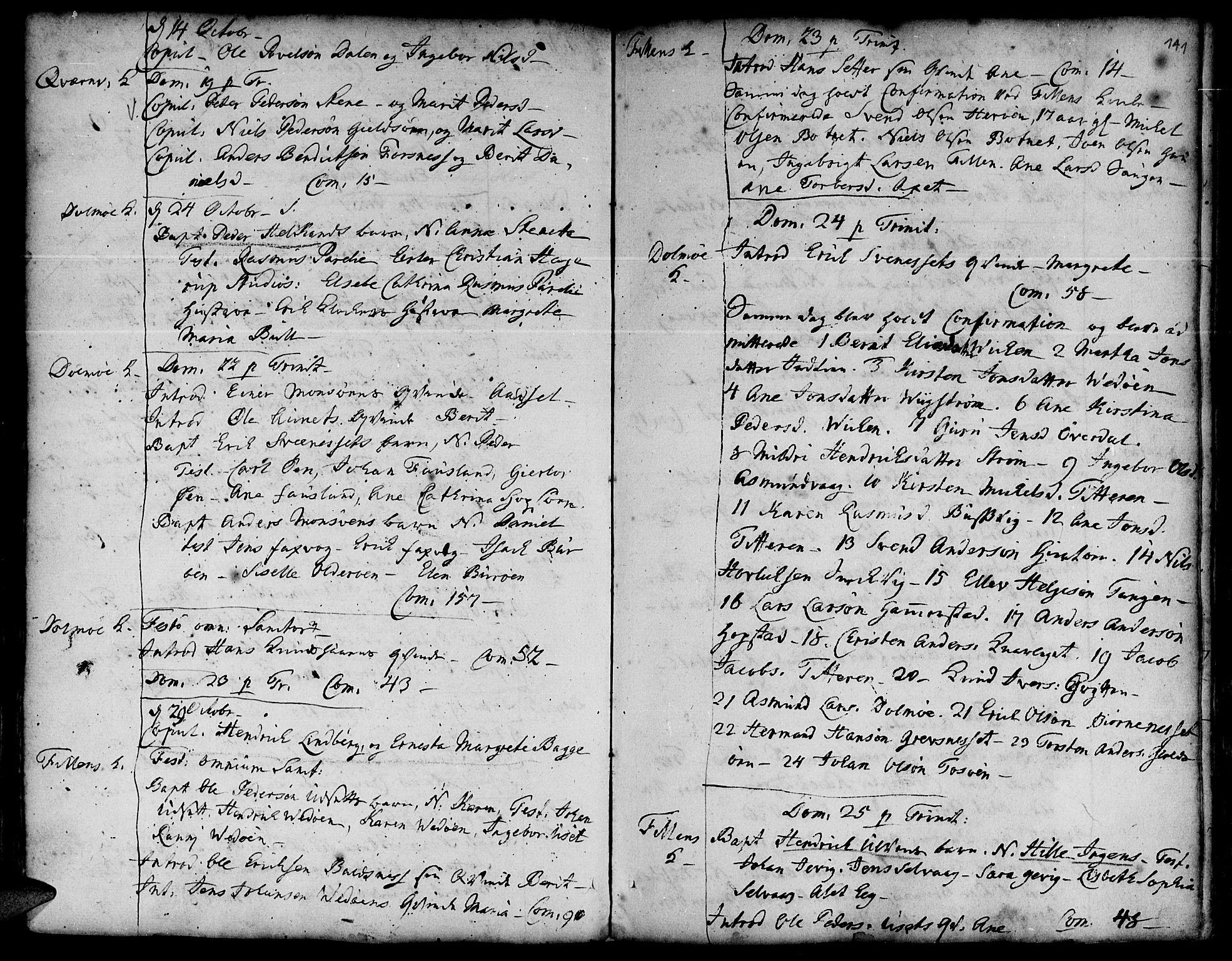 SAT, Ministerialprotokoller, klokkerbøker og fødselsregistre - Sør-Trøndelag, 634/L0525: Ministerialbok nr. 634A01, 1736-1775, s. 141