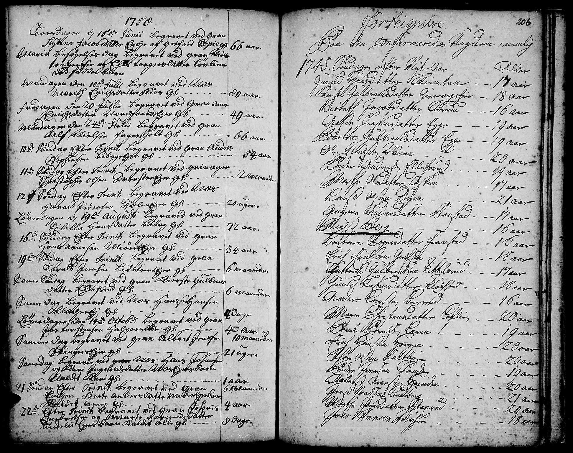 SAH, Gran prestekontor, Ministerialbok nr. 3, 1745-1758, s. 206