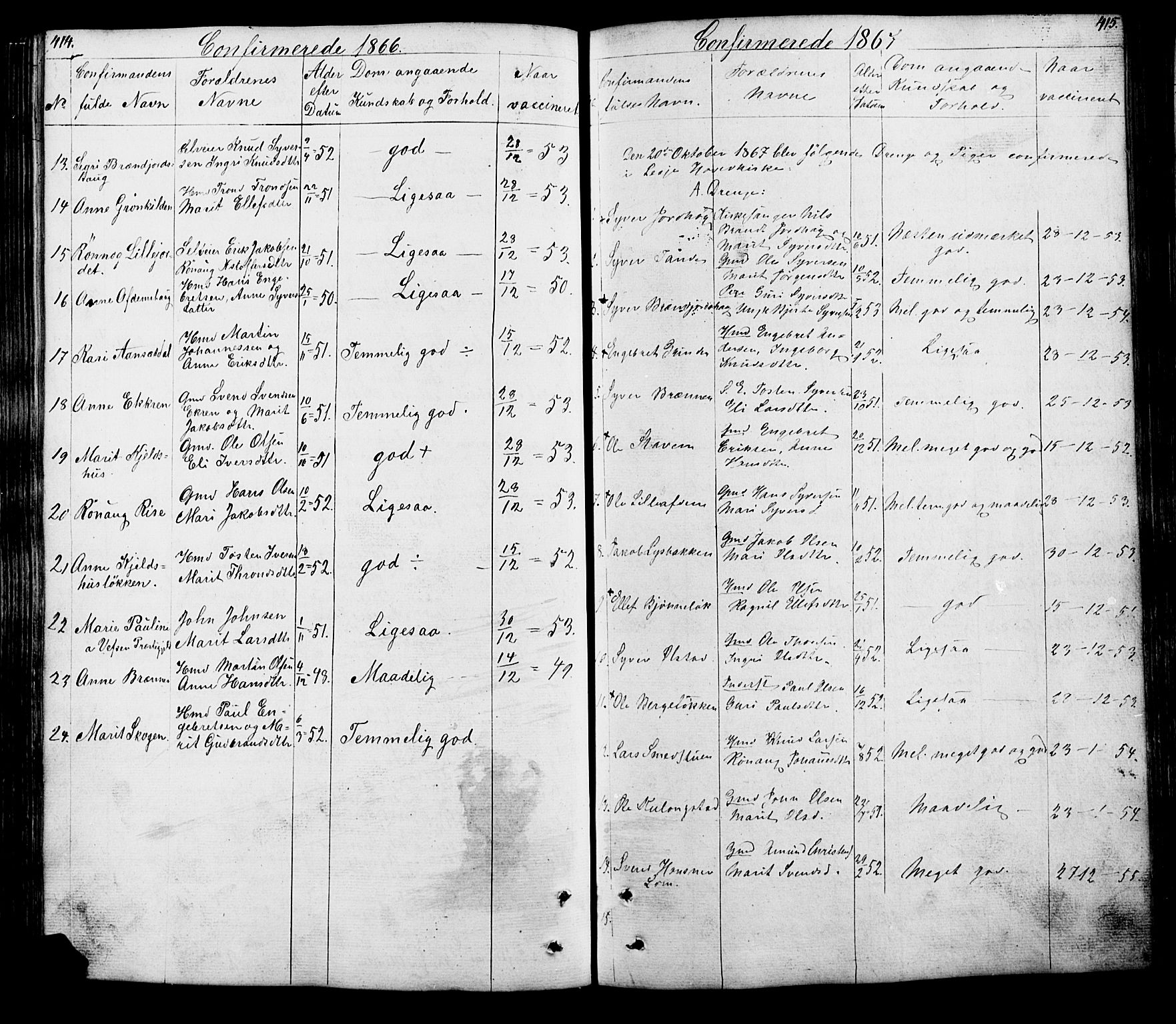 SAH, Lesja prestekontor, Klokkerbok nr. 5, 1850-1894, s. 414-415