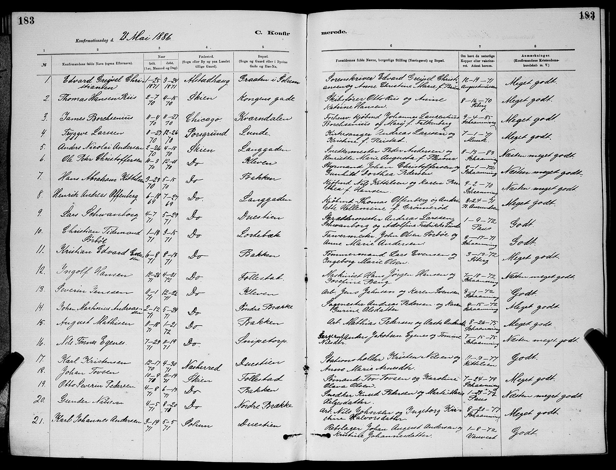 SAKO, Skien kirkebøker, G/Ga/L0006: Klokkerbok nr. 6, 1881-1890, s. 183