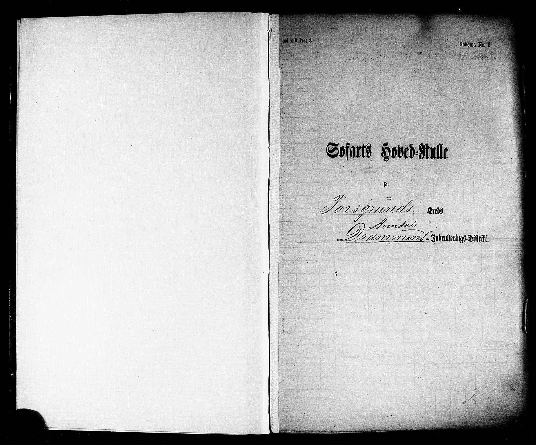 SAKO, Porsgrunn innrulleringskontor, F/Fc/L0002: Hovedrulle, 1868-1874, s. 3