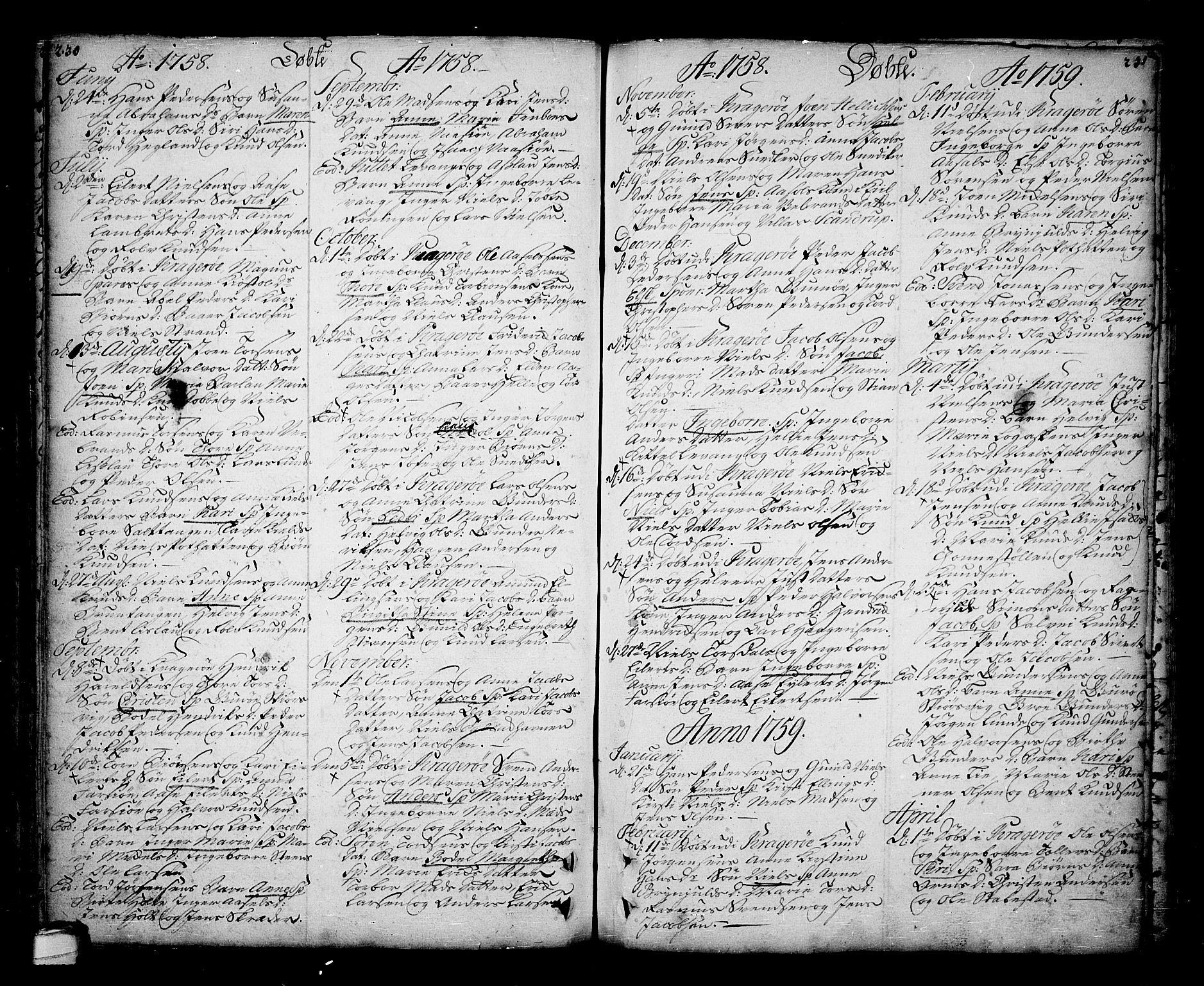 SAKO, Sannidal kirkebøker, F/Fa/L0001: Ministerialbok nr. 1, 1702-1766, s. 230-231