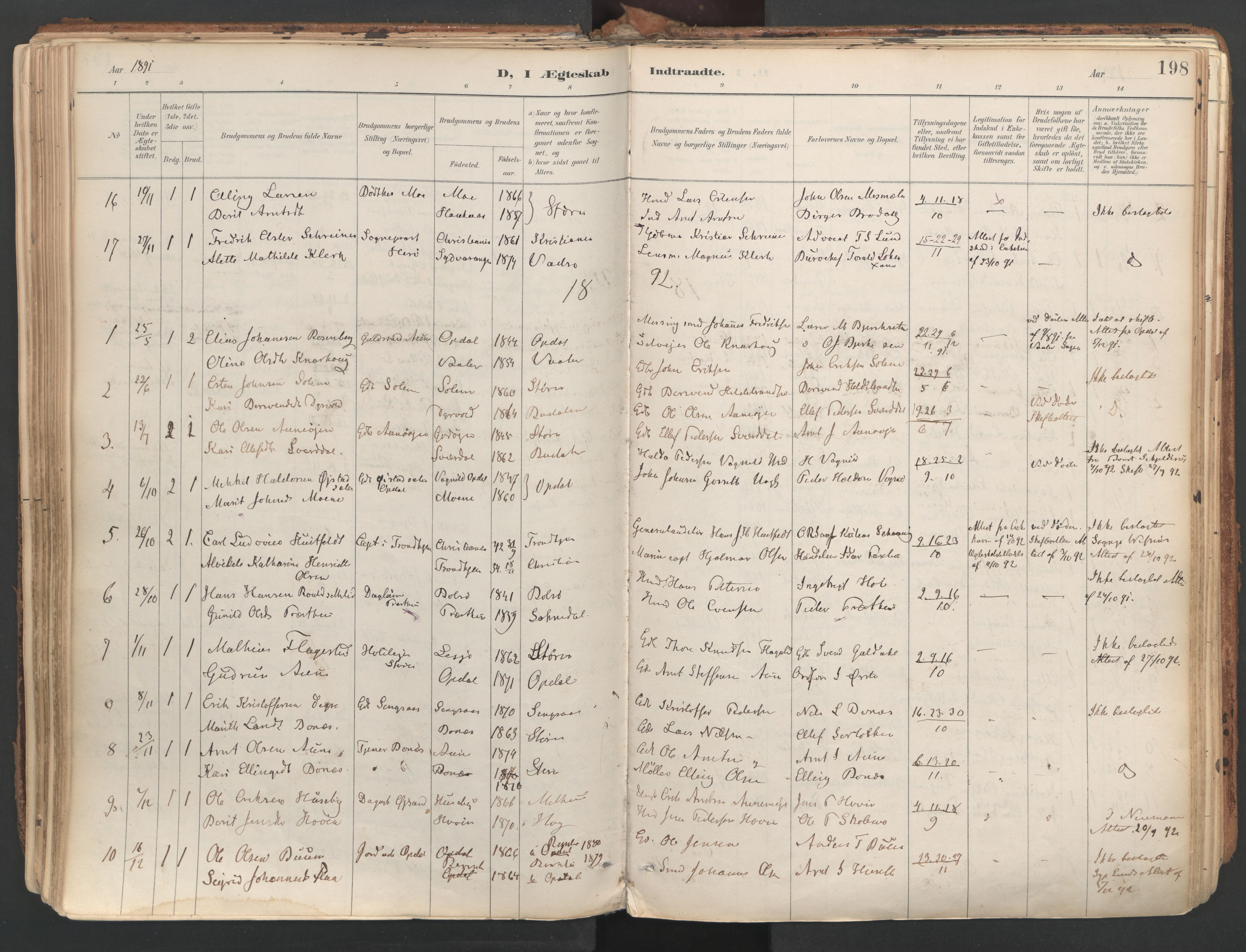 SAT, Ministerialprotokoller, klokkerbøker og fødselsregistre - Sør-Trøndelag, 687/L1004: Ministerialbok nr. 687A10, 1891-1923, s. 198