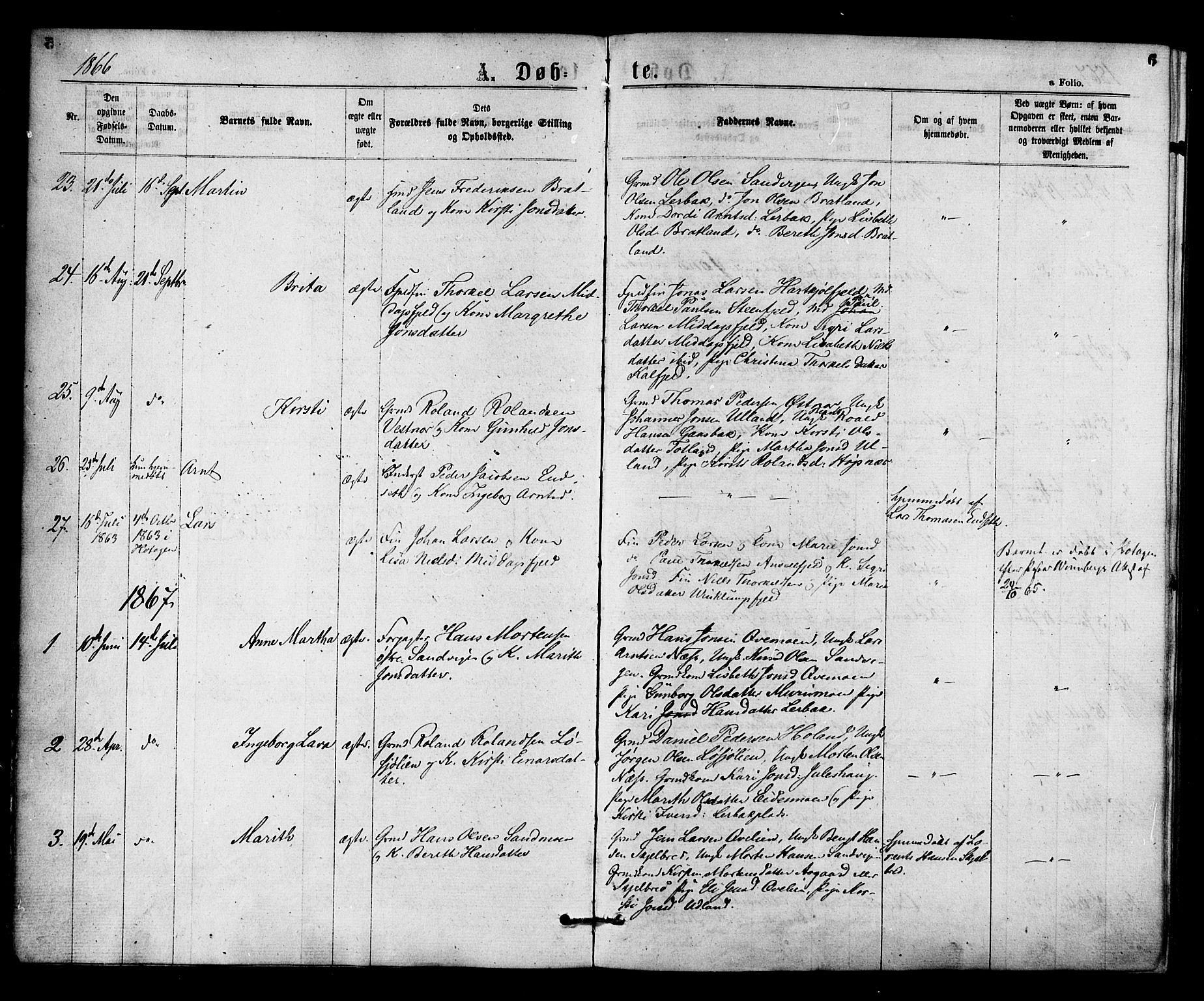 SAT, Ministerialprotokoller, klokkerbøker og fødselsregistre - Nord-Trøndelag, 755/L0493: Ministerialbok nr. 755A02, 1865-1881, s. 6