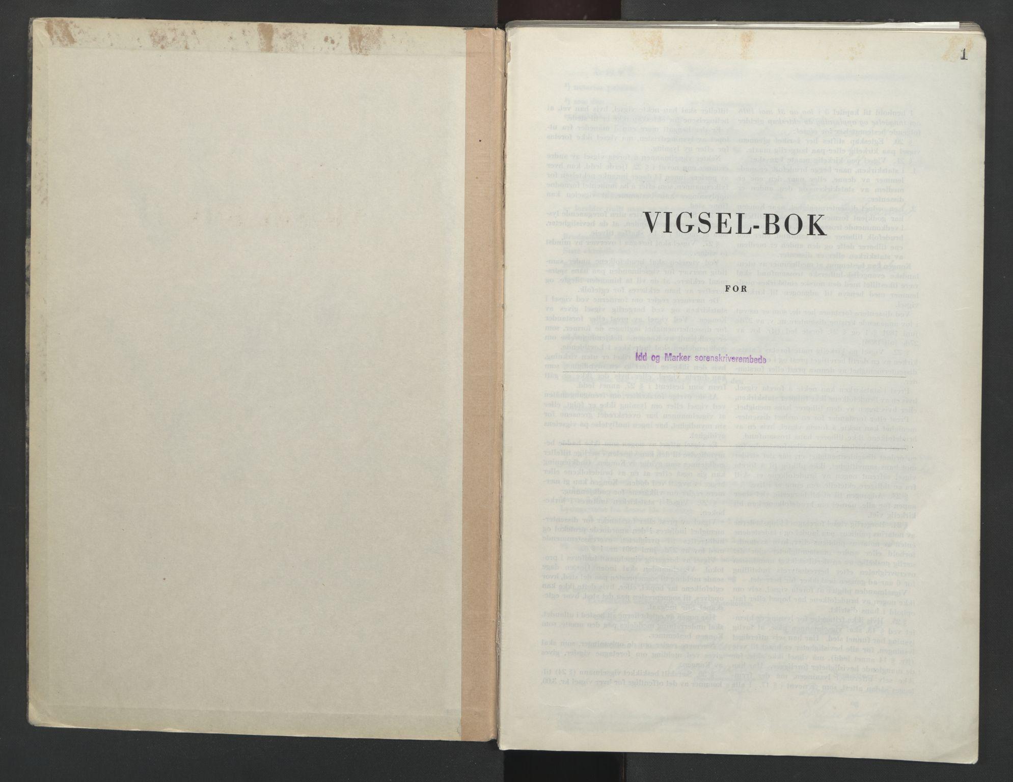 SAO, Idd og Marker sorenskriveri, L/Lc/L0002: Vigselsbok, 1949-1954, s. 1