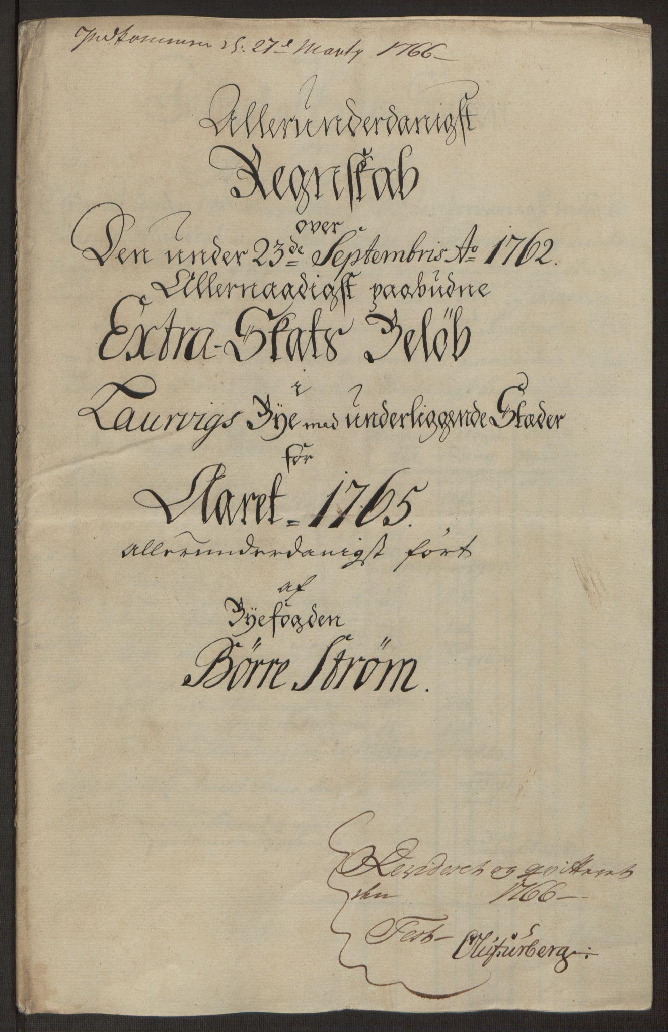 RA, Rentekammeret inntil 1814, Reviderte regnskaper, Byregnskaper, R/Ri/L0183: [I4] Kontribusjonsregnskap, 1762-1768, s. 239