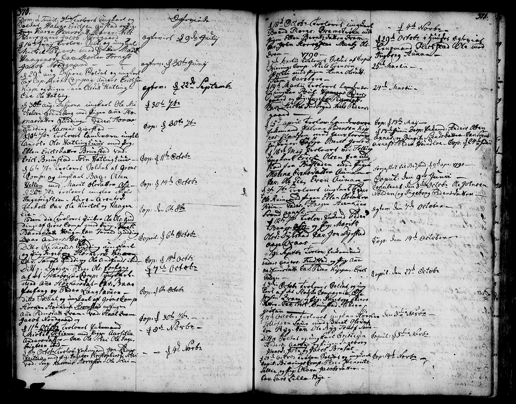 SAT, Ministerialprotokoller, klokkerbøker og fødselsregistre - Nord-Trøndelag, 746/L0440: Ministerialbok nr. 746A02, 1760-1815, s. 370-371