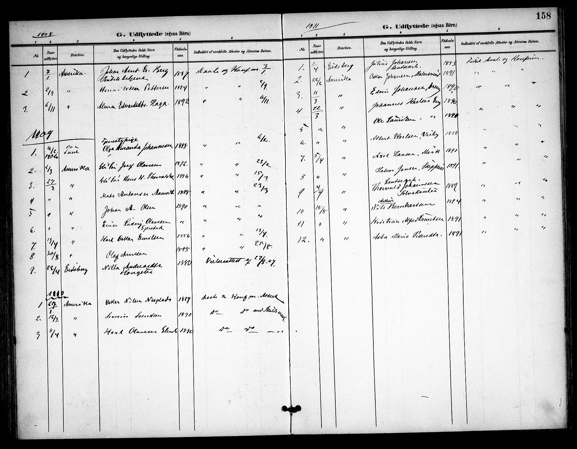 SAO, Skiptvet prestekontor Kirkebøker, F/Fa/L0011: Ministerialbok nr. 11, 1901-1913, s. 158