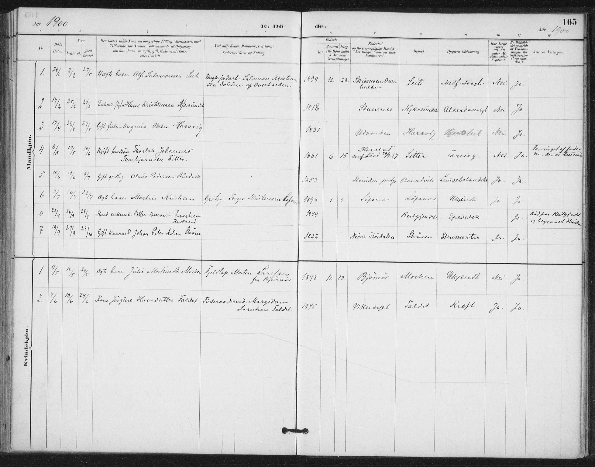 SAT, Ministerialprotokoller, klokkerbøker og fødselsregistre - Nord-Trøndelag, 772/L0603: Ministerialbok nr. 772A01, 1885-1912, s. 165