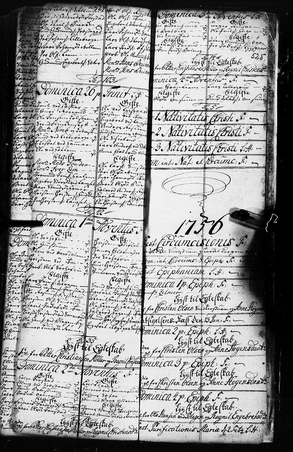 SAH, Fåberg prestekontor, Klokkerbok nr. 2, 1741-1756, s. 524-525