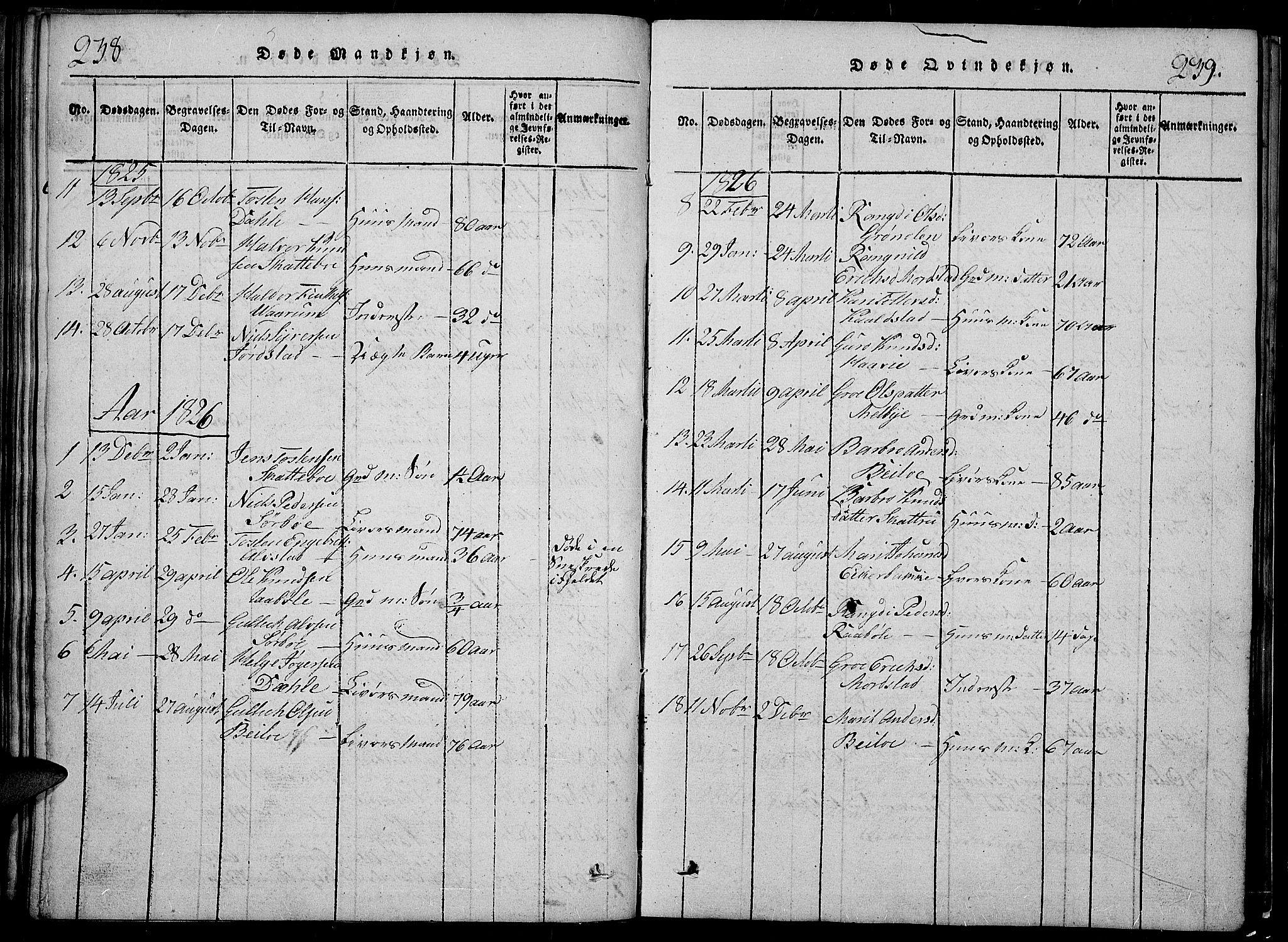 SAH, Slidre prestekontor, Klokkerbok nr. 2, 1814-1839, s. 238-239